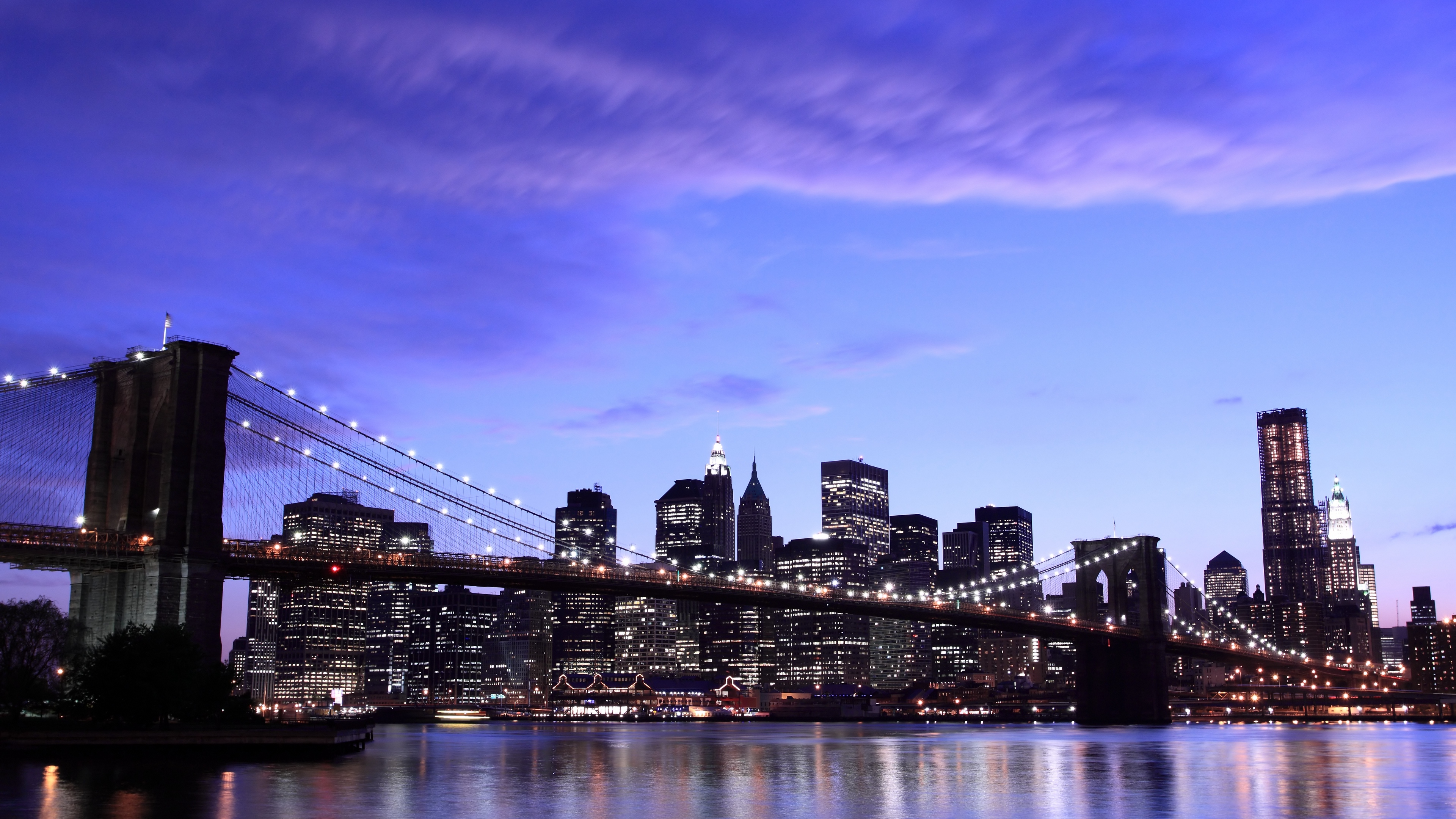 new york city brooklyn bridge evening lights sky clouds 4k 1538066367 - new york city, brooklyn bridge, evening, lights, sky, clouds 4k - new york city, Evening, brooklyn bridge