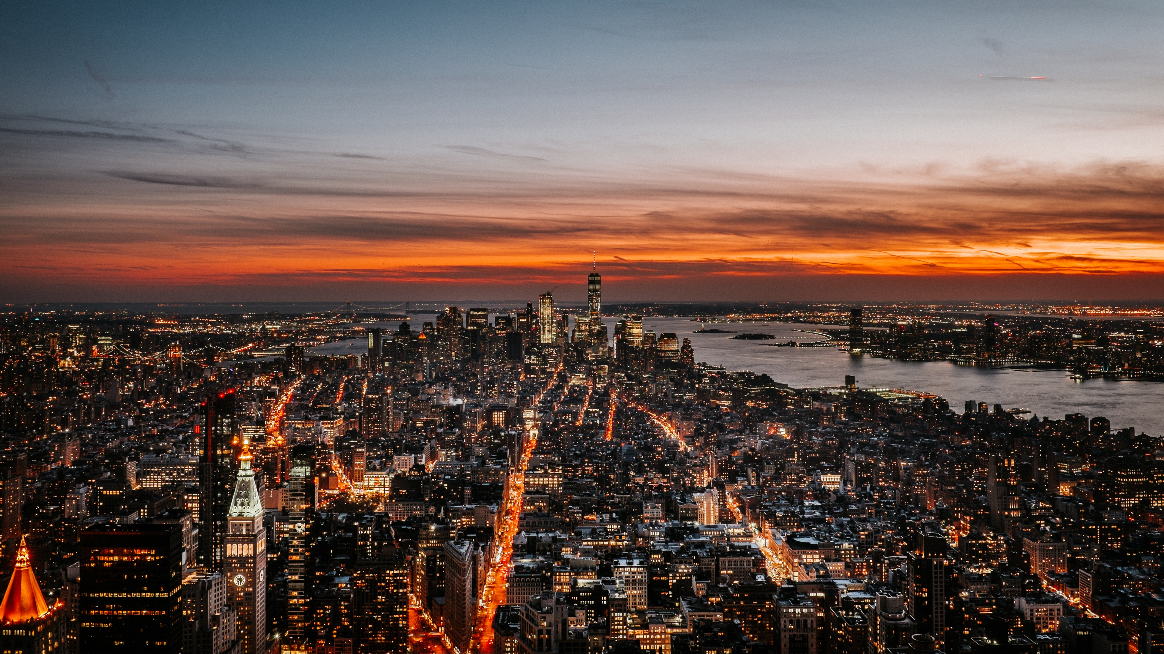 new york night city skyline sky dusk sunset 4k 1538065531 - new york, night city, skyline, sky, dusk, sunset 4k - Skyline, night city, new york