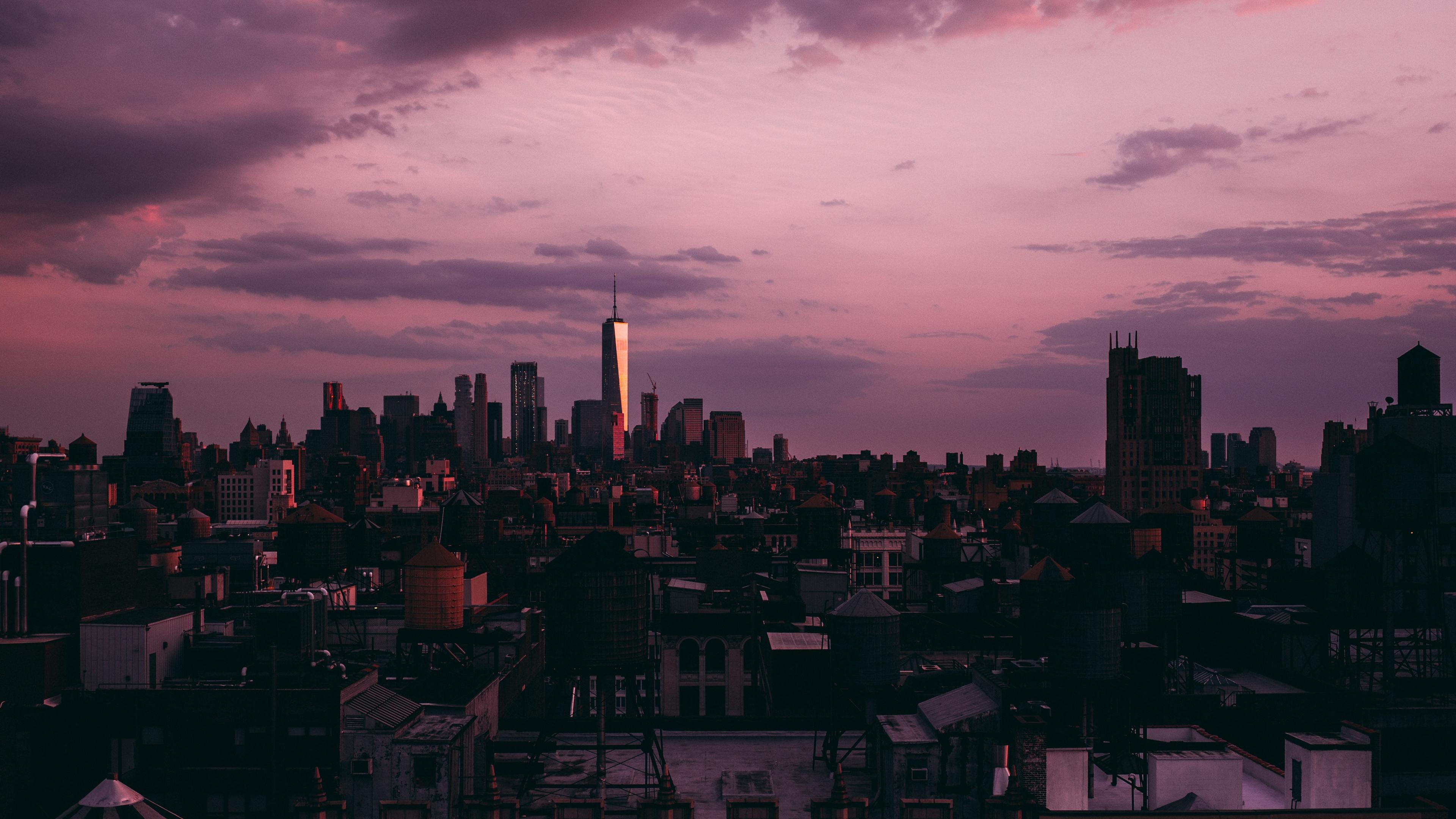 new york skyscrapers sunset clouds usa 4k 1538066267 - new york, skyscrapers, sunset, clouds, usa 4k - sunset, Skyscrapers, new york