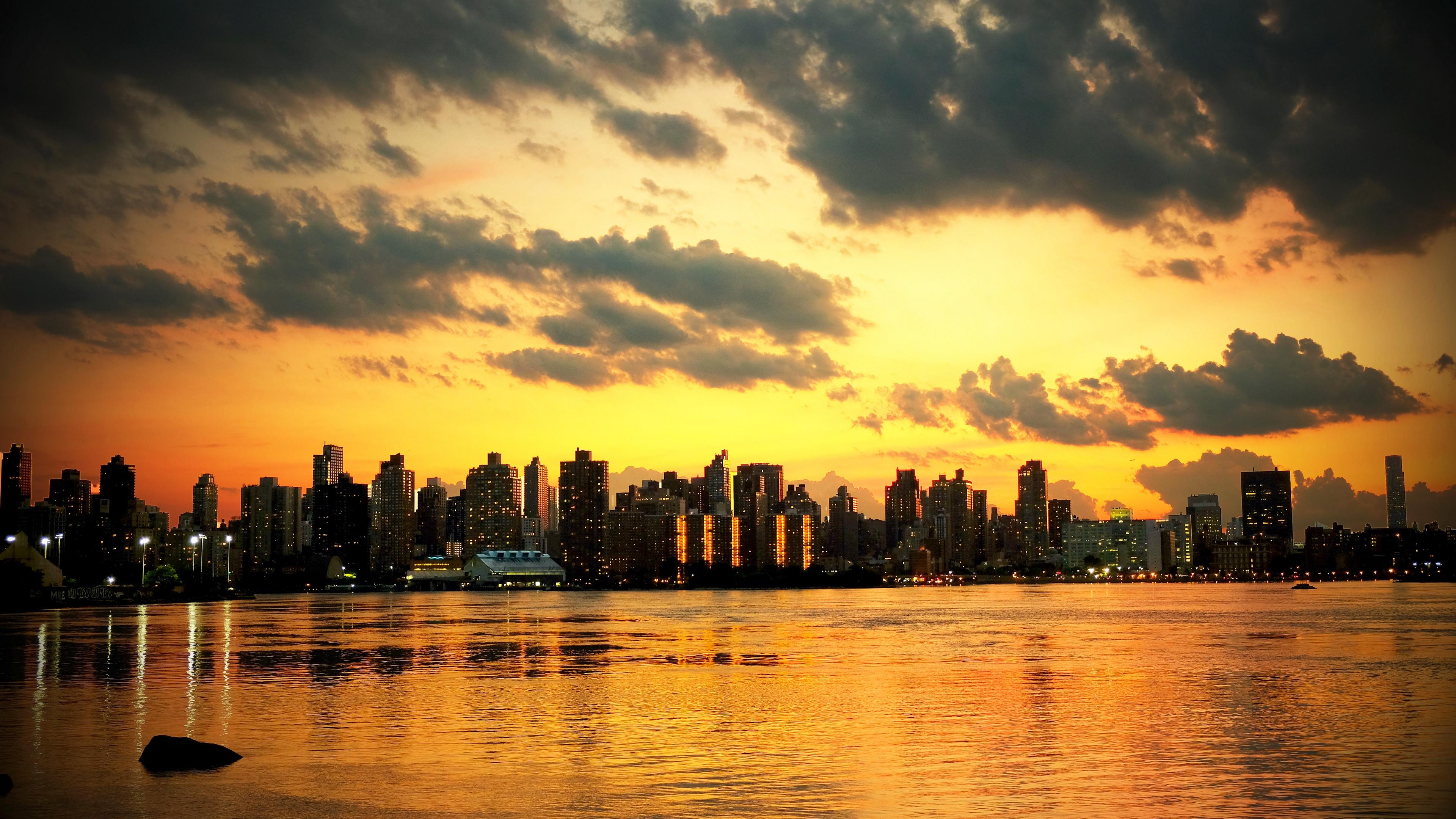 new york sunset skyscrapers ocean 4k 1538068191 - new york, sunset, skyscrapers, ocean 4k - sunset, Skyscrapers, new york