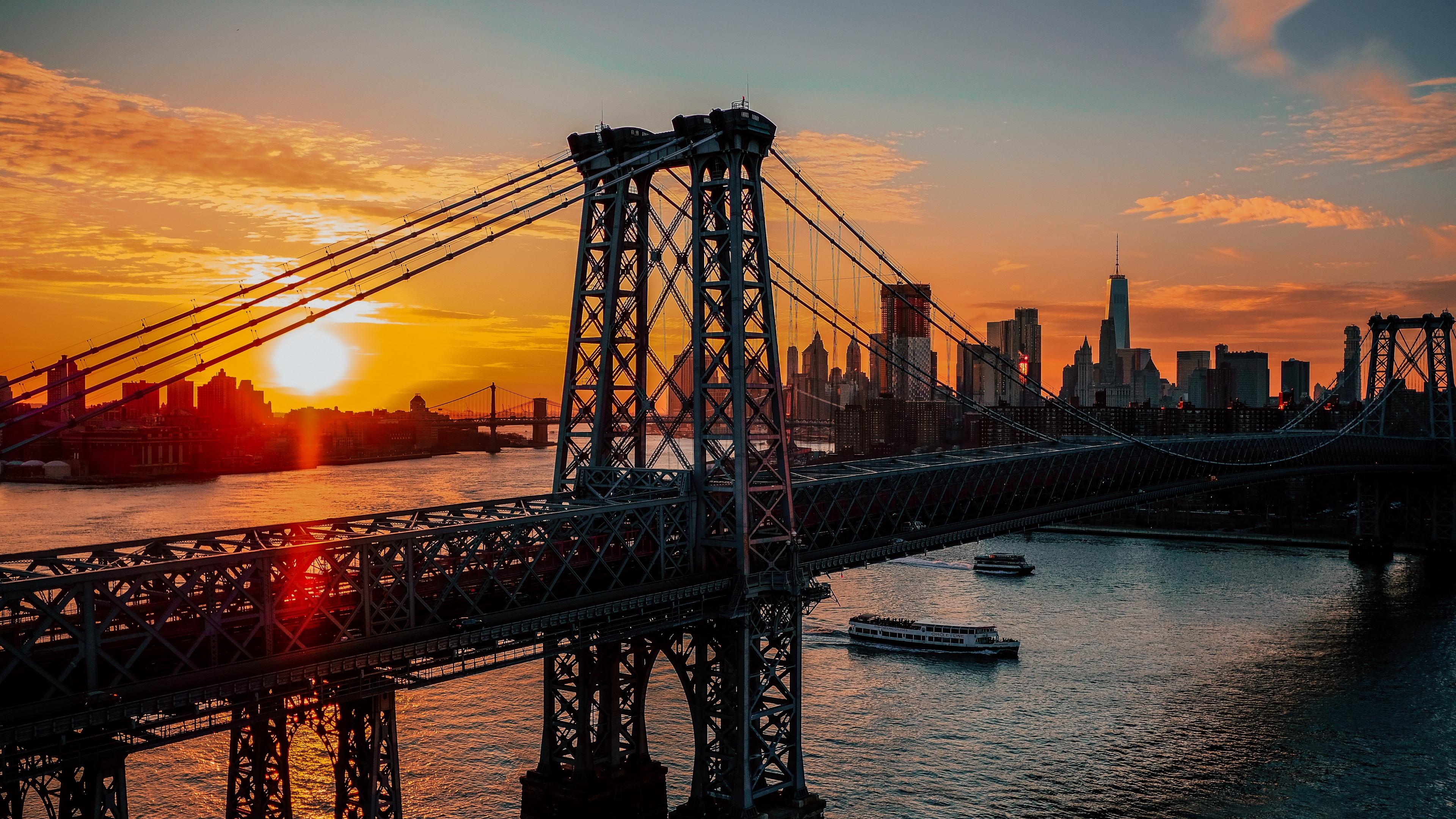 new york usa bridge dawn 4k 1538068144 - new york, usa, bridge, dawn 4k - USA, new york, bridge