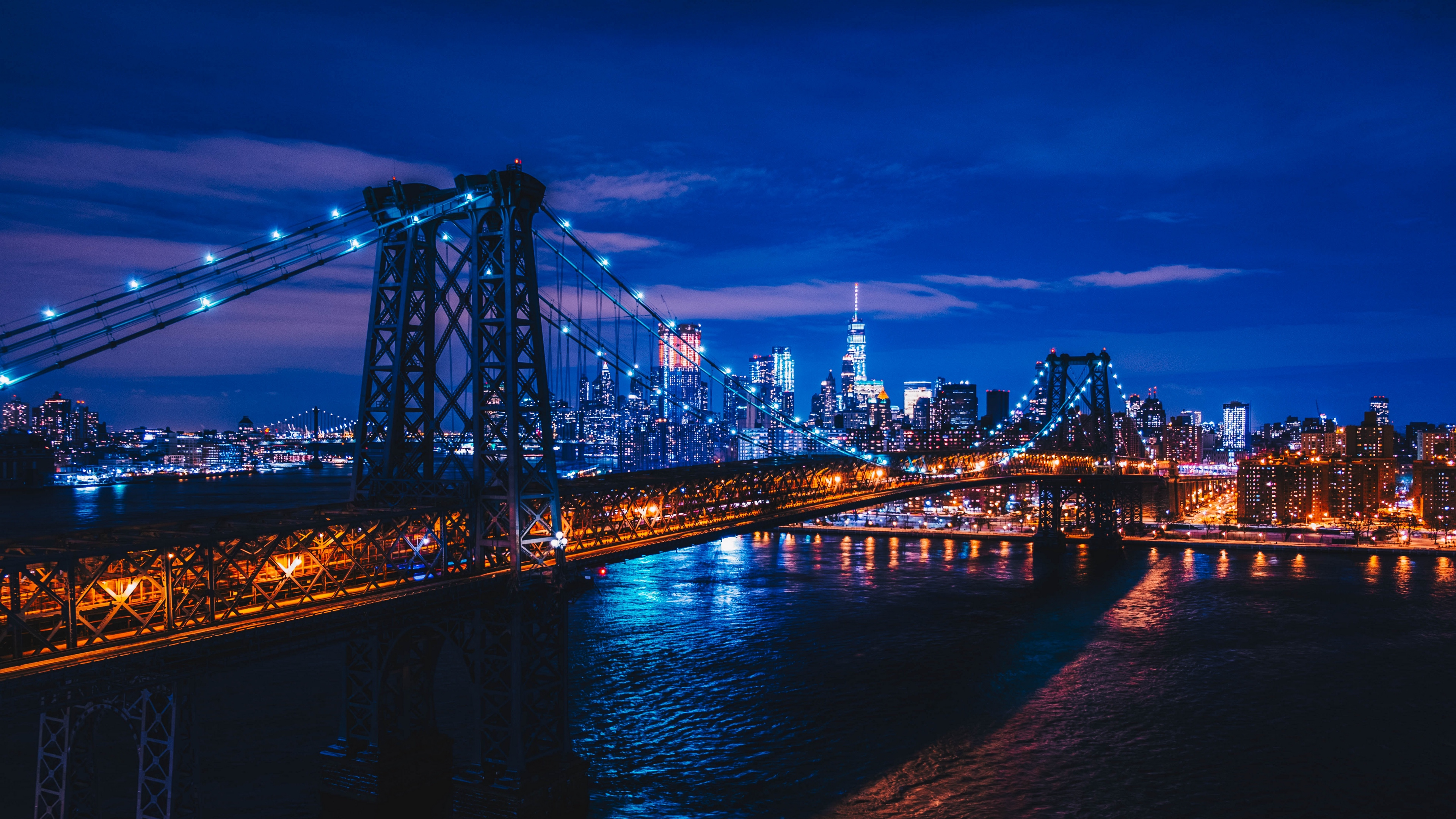 Wallpaper 4k New York Usa Night City Bridge 4k New York