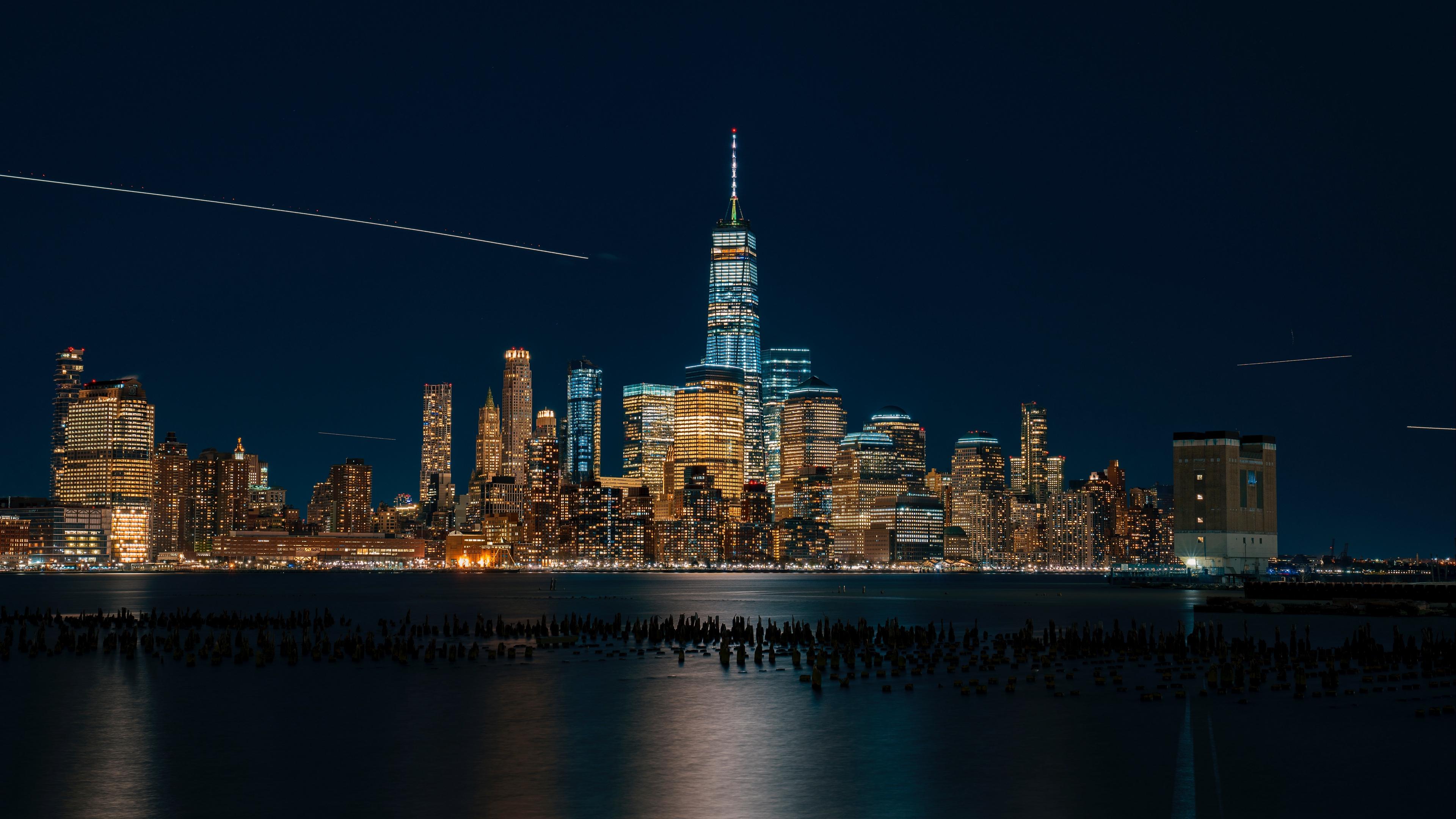 new york usa night city panorama skyscrapers beach 4k 1538068007 - new york, usa, night city, panorama, skyscrapers, beach 4k - USA, night city, new york