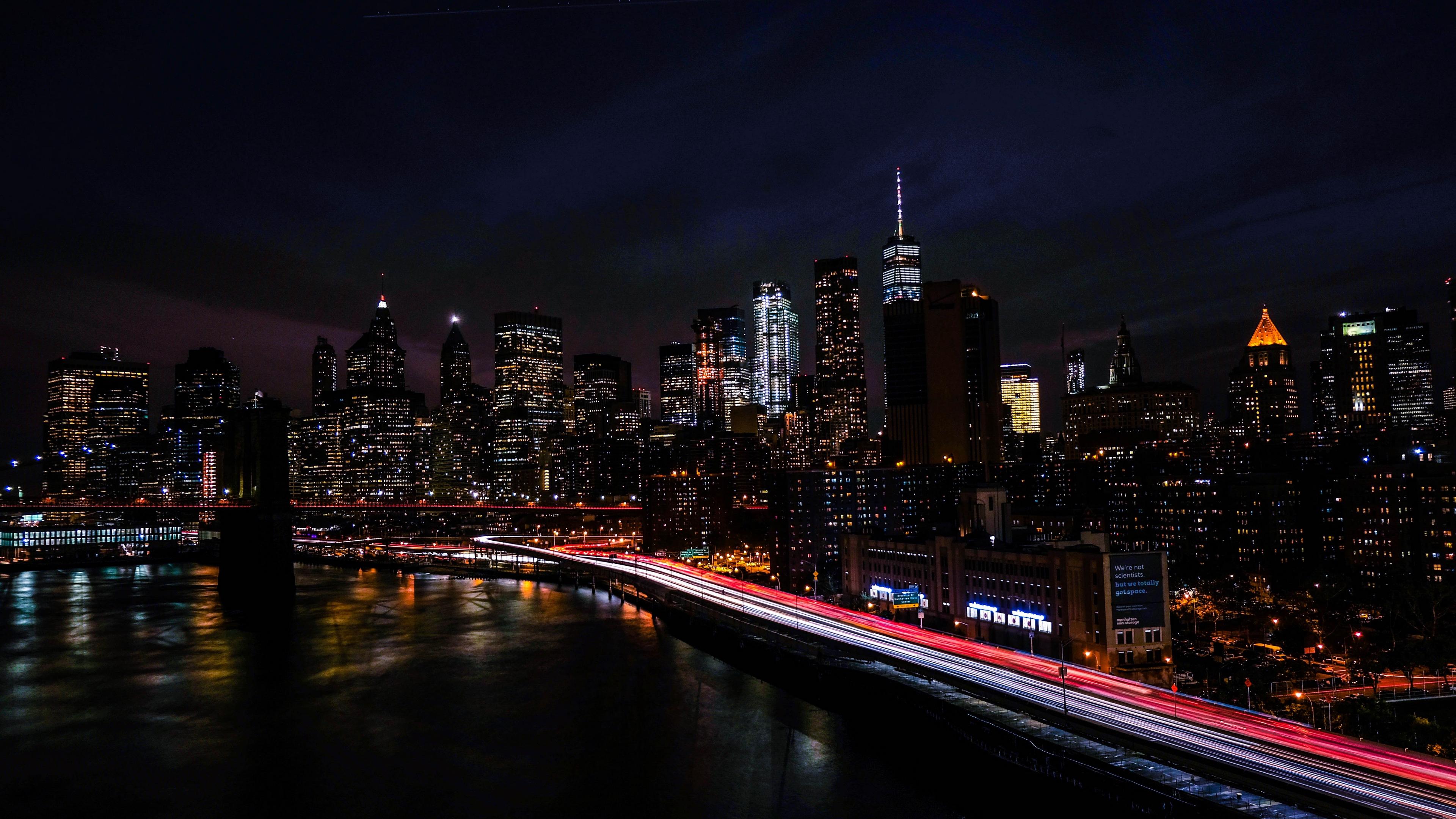 new york usa night city shore skyscrapers 4k 1538068110 - new york, usa, night city, shore, skyscrapers 4k - USA, night city, new york