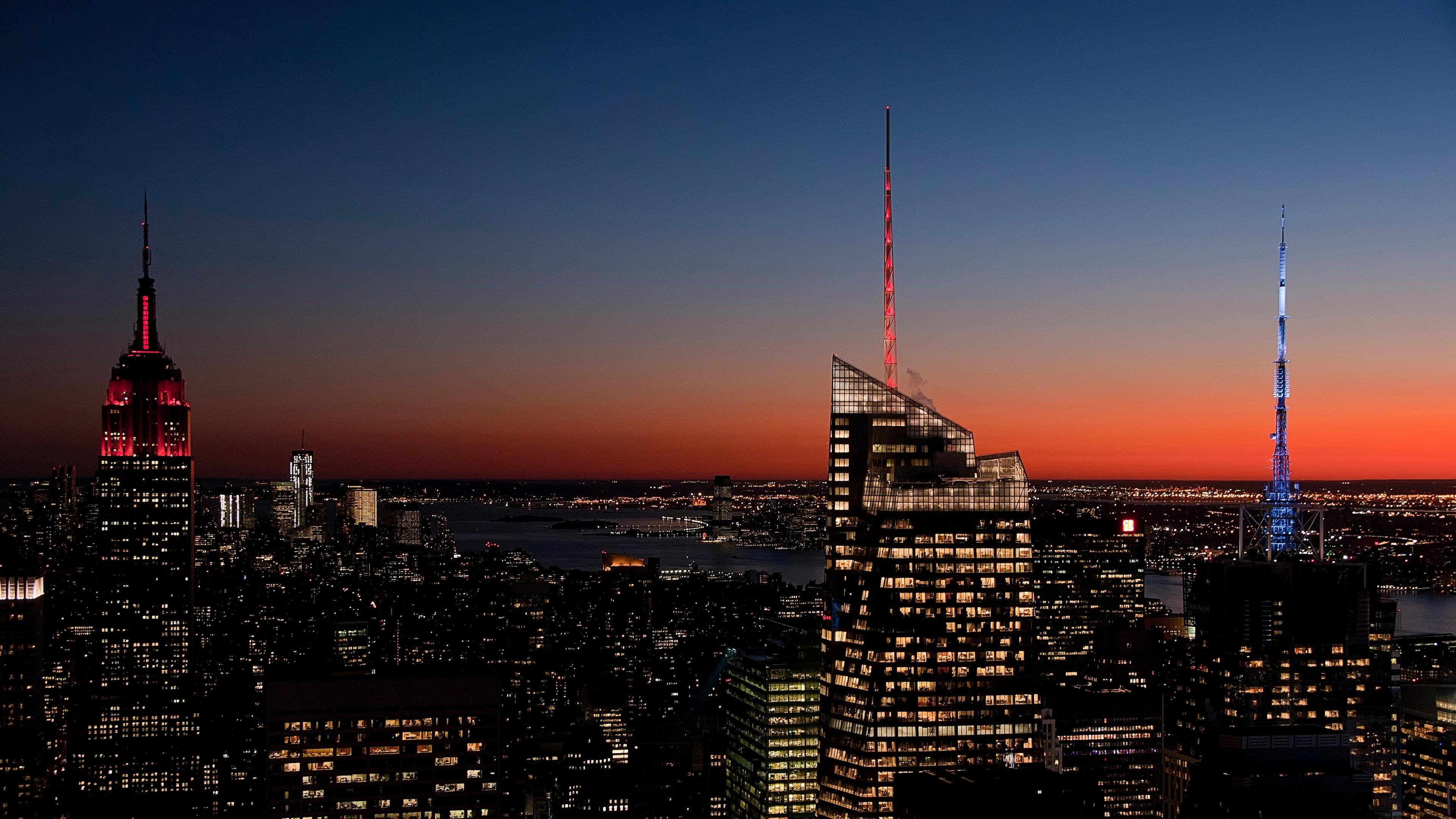 new york usa night skyscrapers 4k 1538068455 - new york, usa, night, skyscrapers 4k - USA, Night, new york