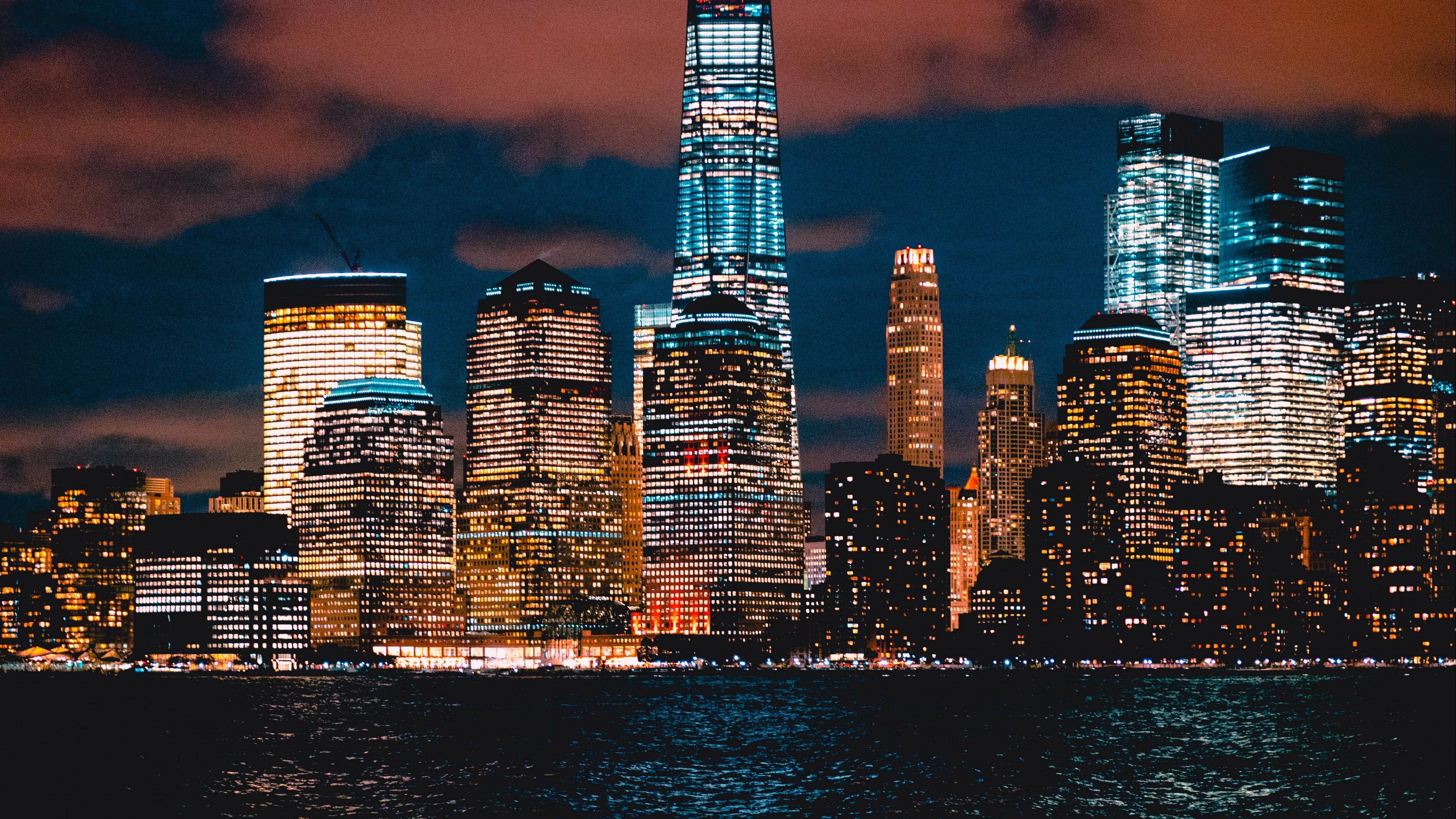 new york usa skyscrapers shore night 4k 1538065400 - new york, usa, skyscrapers, shore, night 4k - USA, Skyscrapers, new york