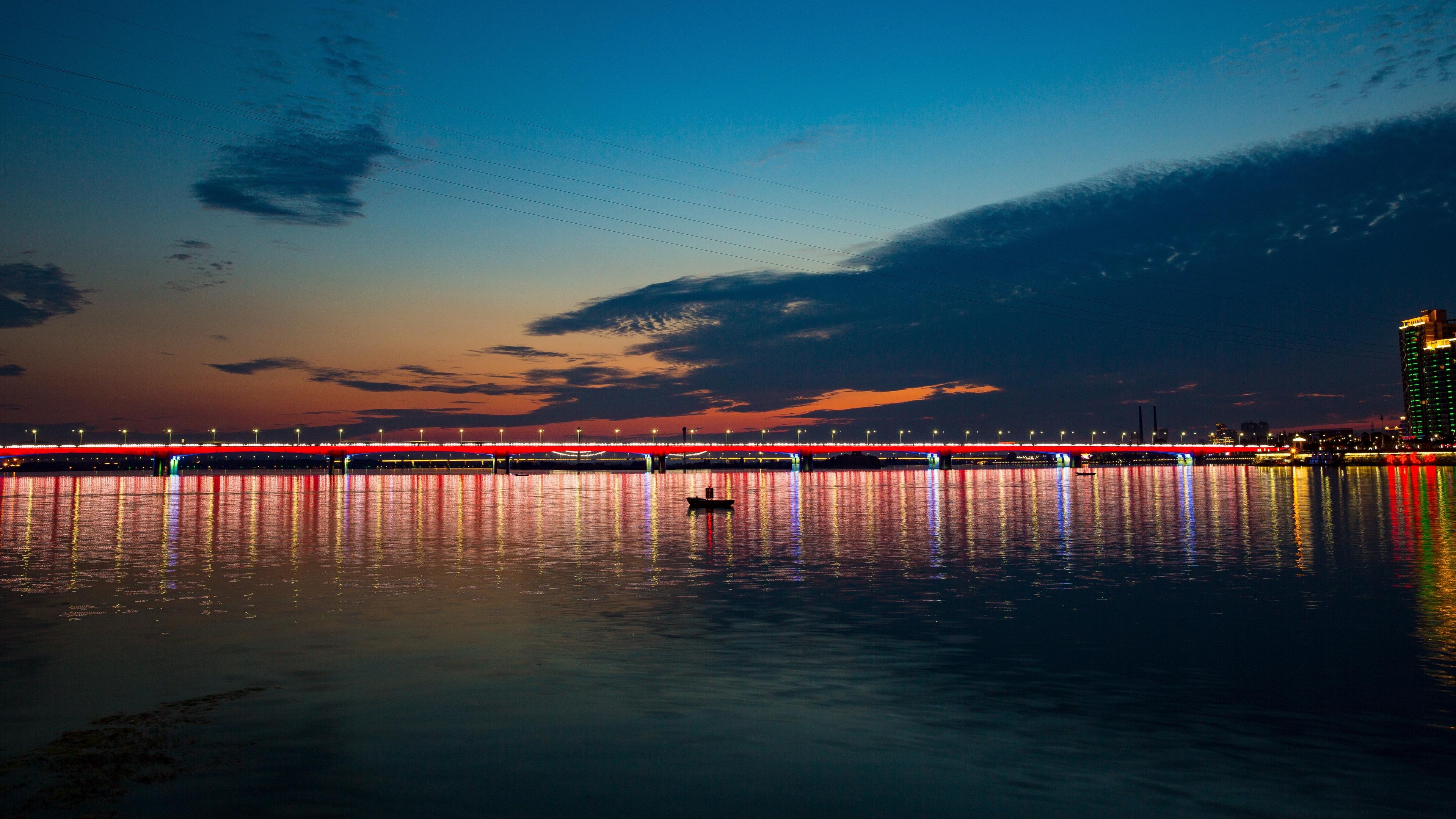 night city bridge boat sea 4k 1538066409 - night city, bridge, boat, sea 4k - night city, bridge, Boat