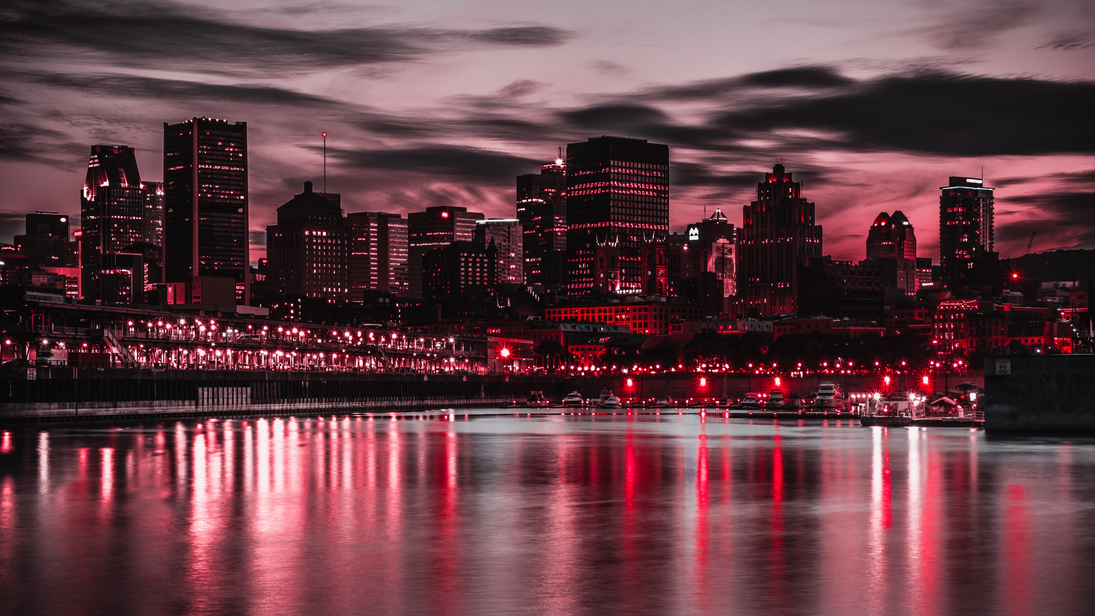 night city, city lights, buildings, shore, night 4k night ...