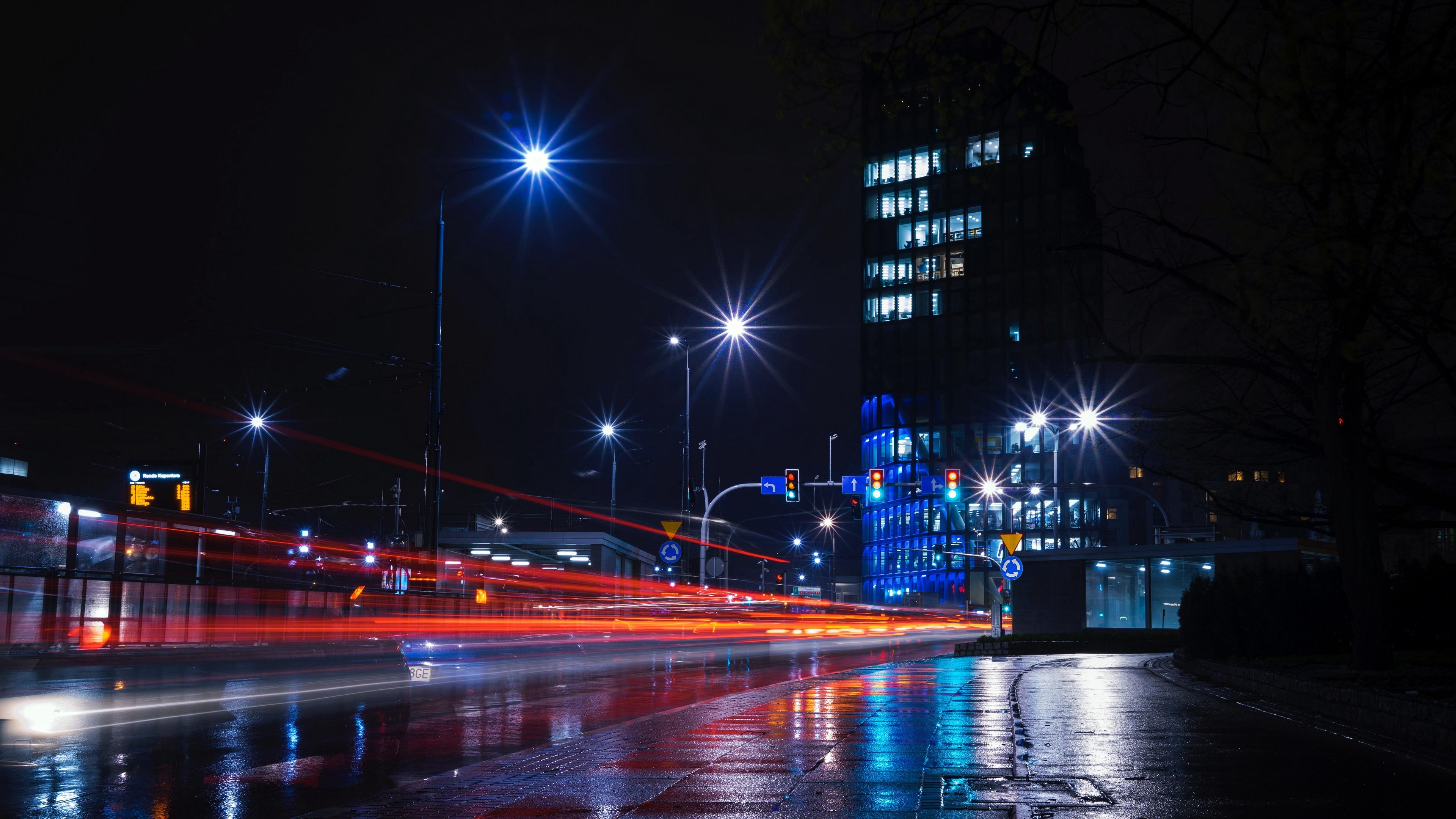 night city city lights road building lights 4k 1538067512 - night city, city lights, road, building, lights 4k - Road, night city, city lights