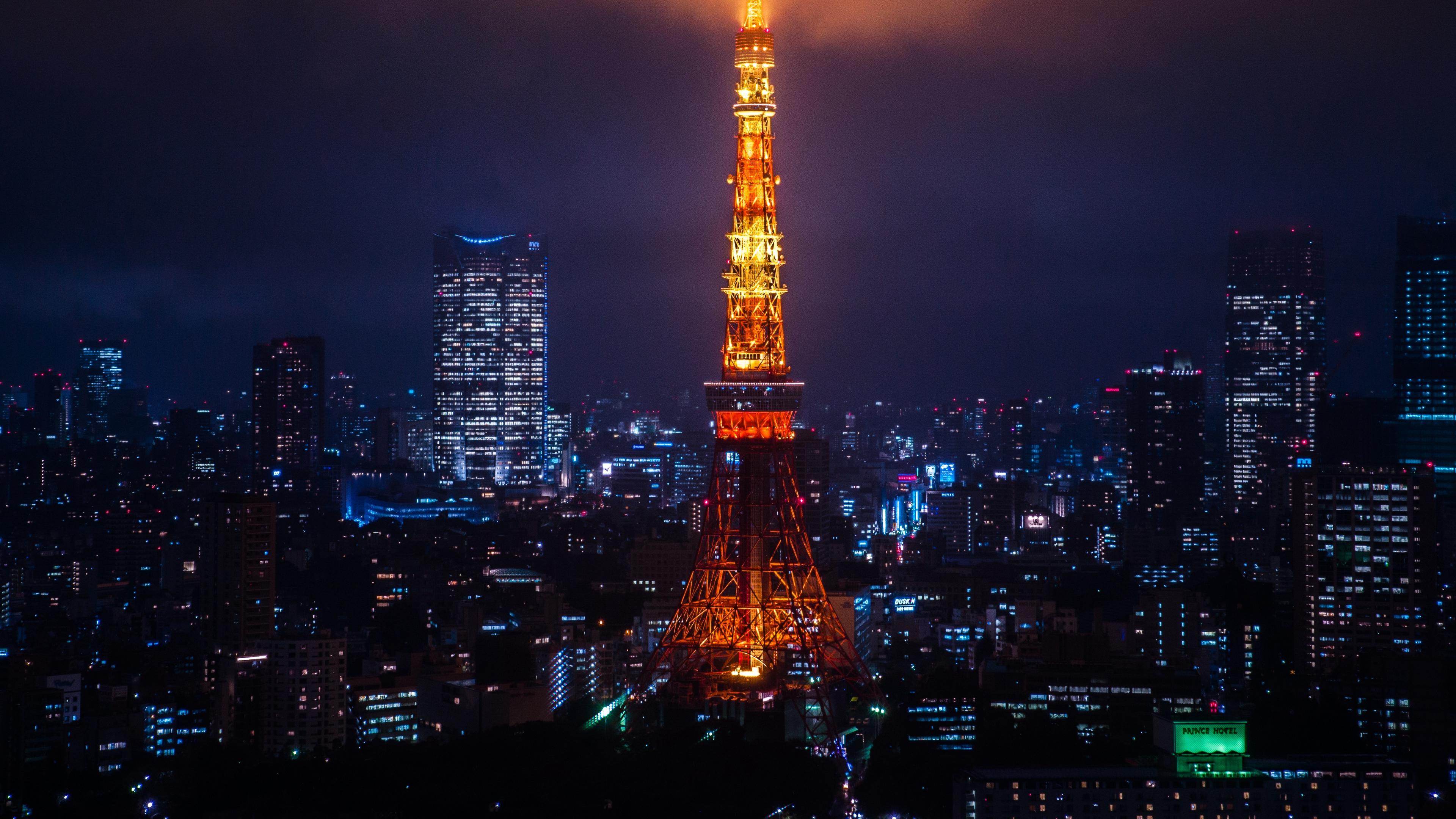 night city city lights tokyo tower 4k 1538065175 - night city, city lights, tokyo, tower 4k - Tokyo, night city, city lights