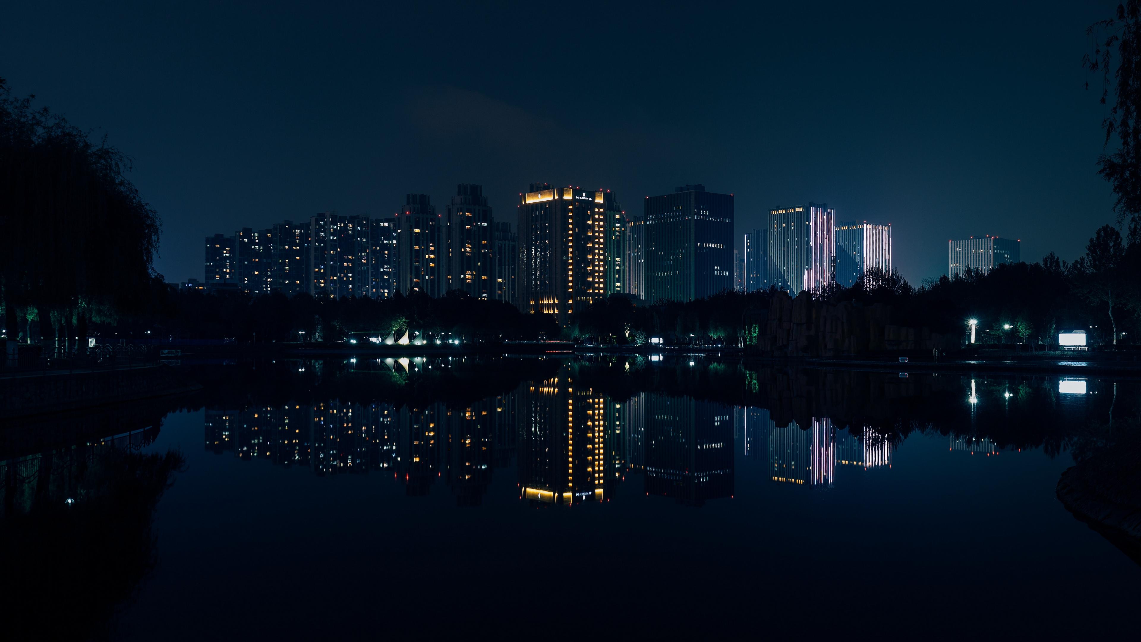Wallpaper 4k Night City Panorama River Reflection
