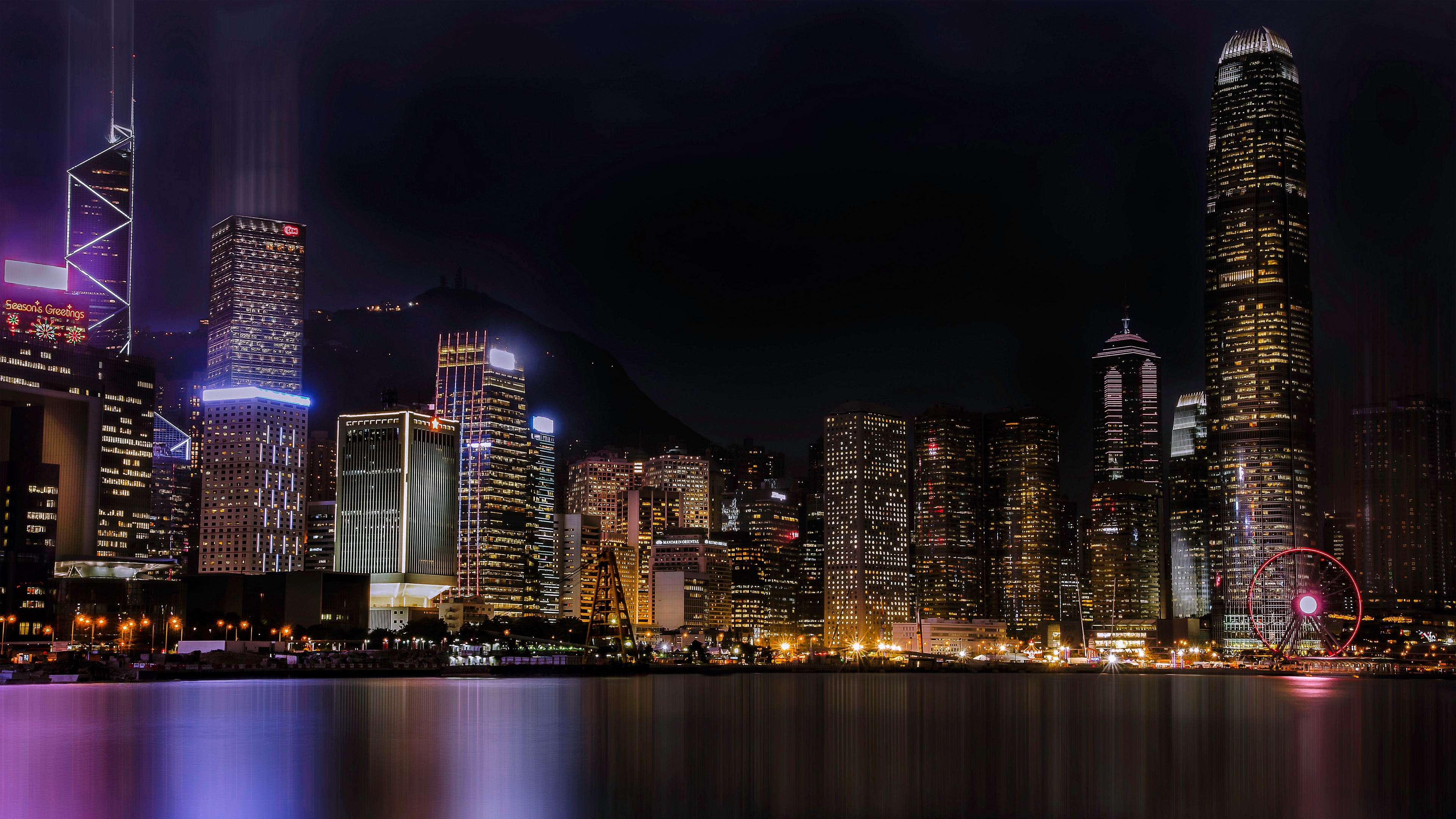night city skyscrapers beach 4k 1538068200 - night city, skyscrapers, beach 4k - Skyscrapers, night city, Beach