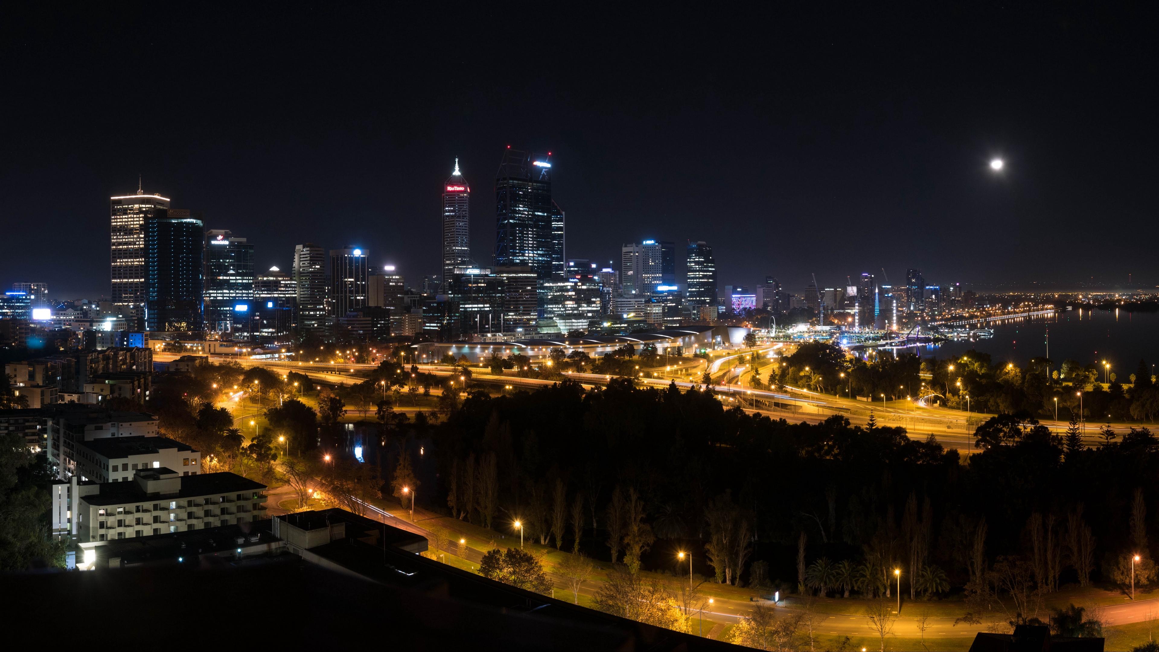 night city skyscrapers buildings city lights perth australia 4k 1538067522 - night city, skyscrapers, buildings, city lights, perth, australia 4k - Skyscrapers, night city, buildings
