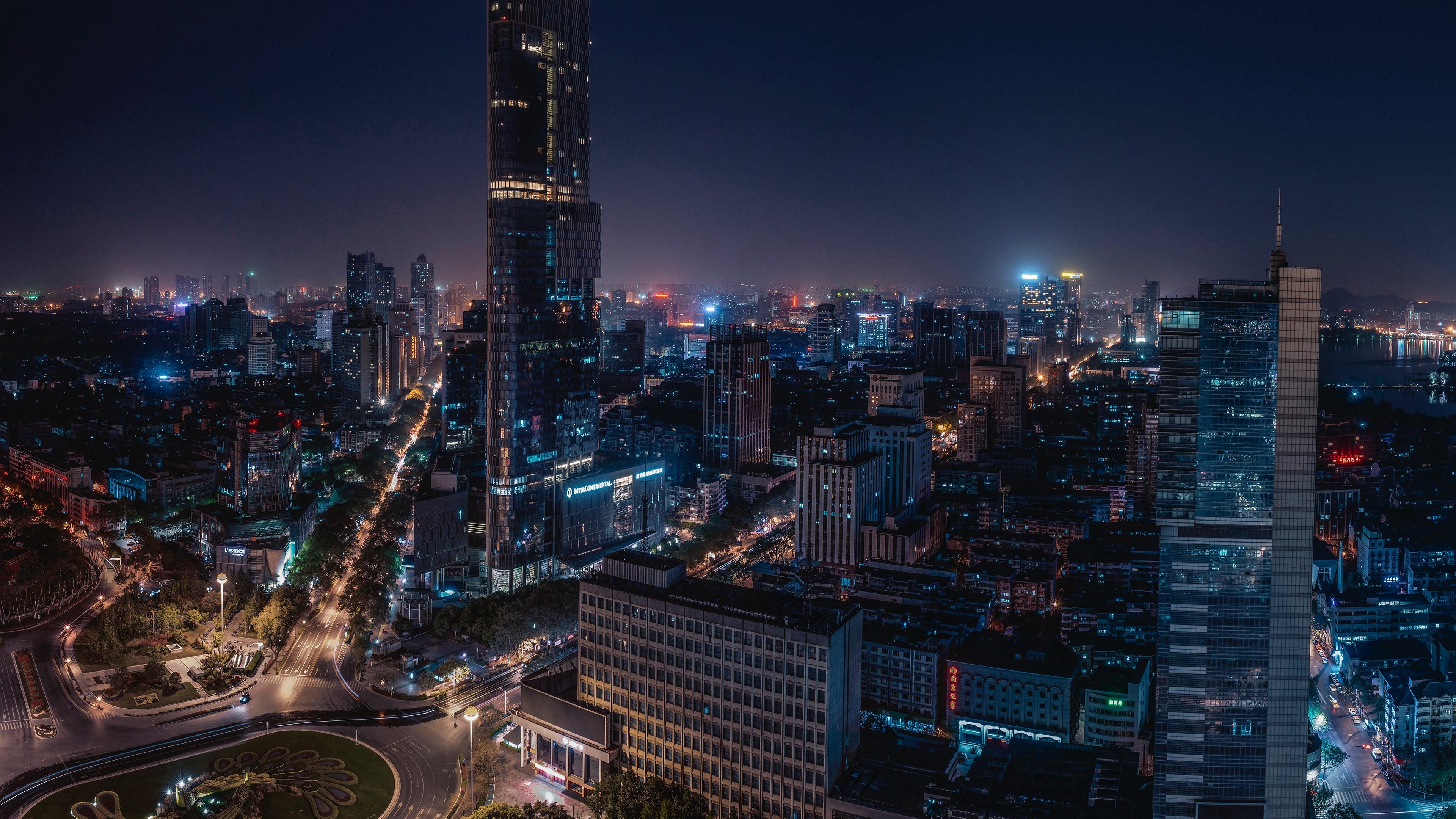 night city skyscrapers nanjing china 4k 1538066826 - night city, skyscrapers, nanjing, china 4k - Skyscrapers, night city, nanjing