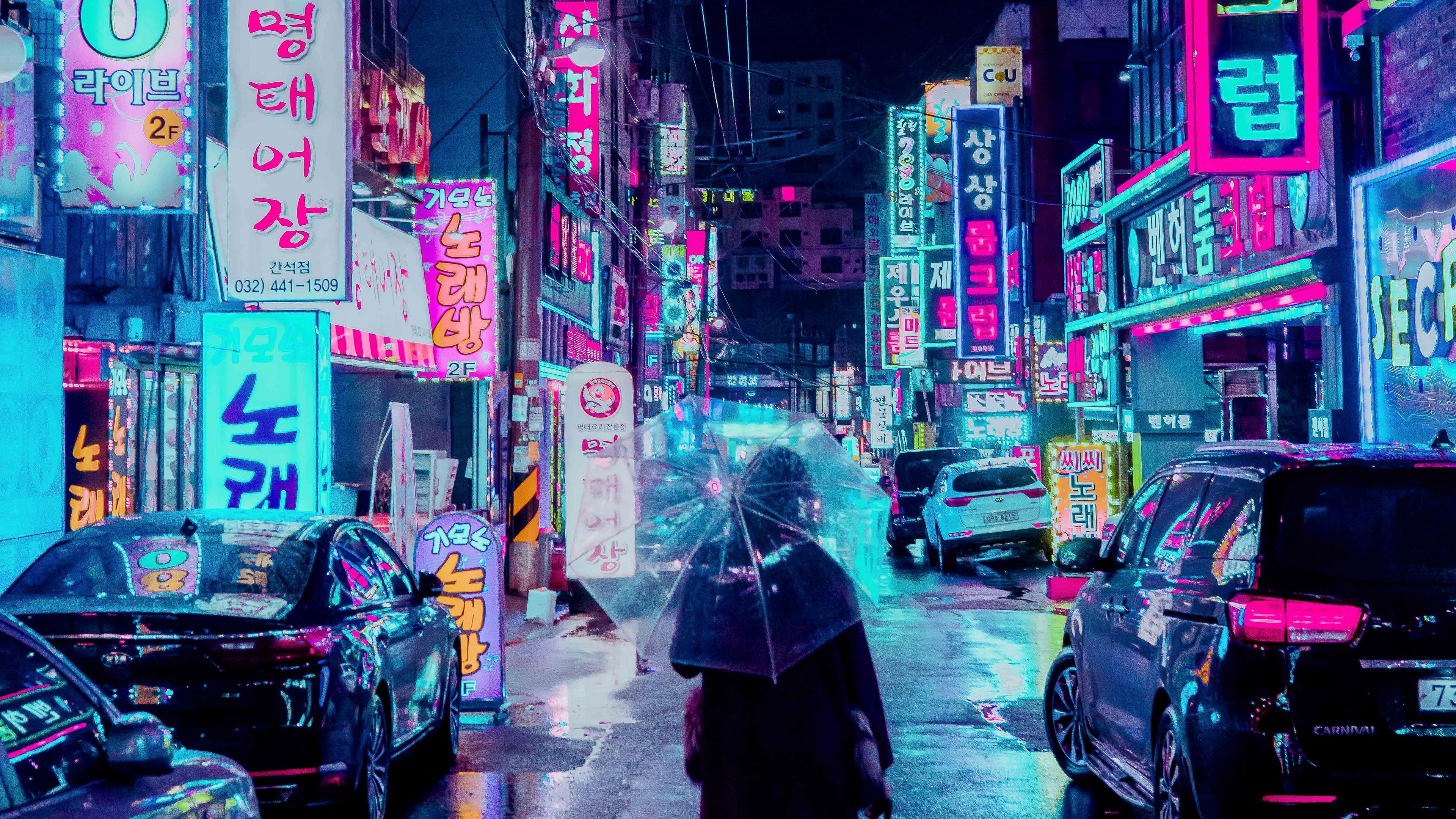 night city street umbrella man signboards lighting neon 4k 1538068839 - night city, street, umbrella, man, signboards, lighting, neon 4k - Umbrella, Street, night city
