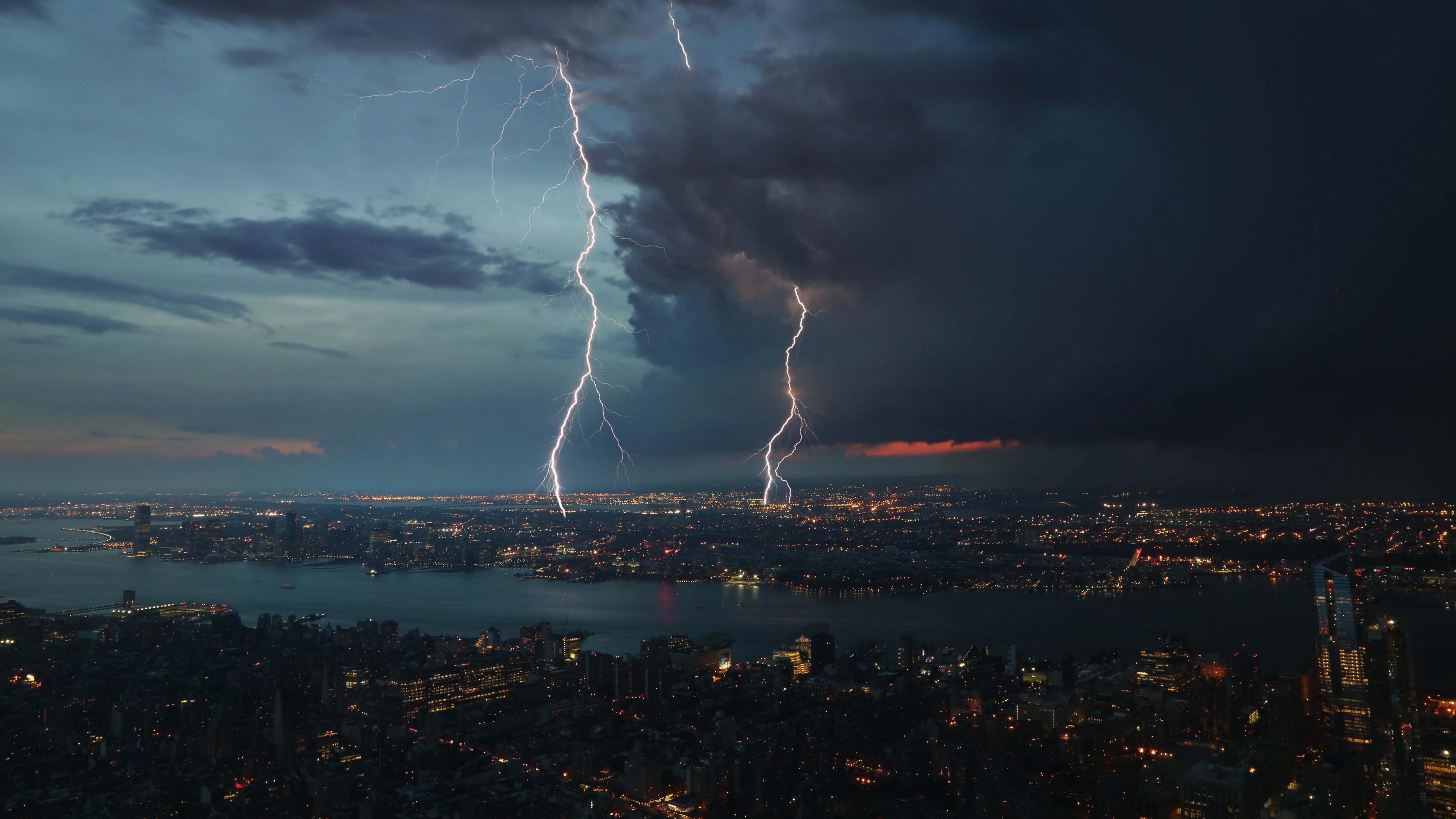night city thunderstorm top view 4k 1538068112 - night city, thunderstorm, top view 4k - top view, thunderstorm, night city