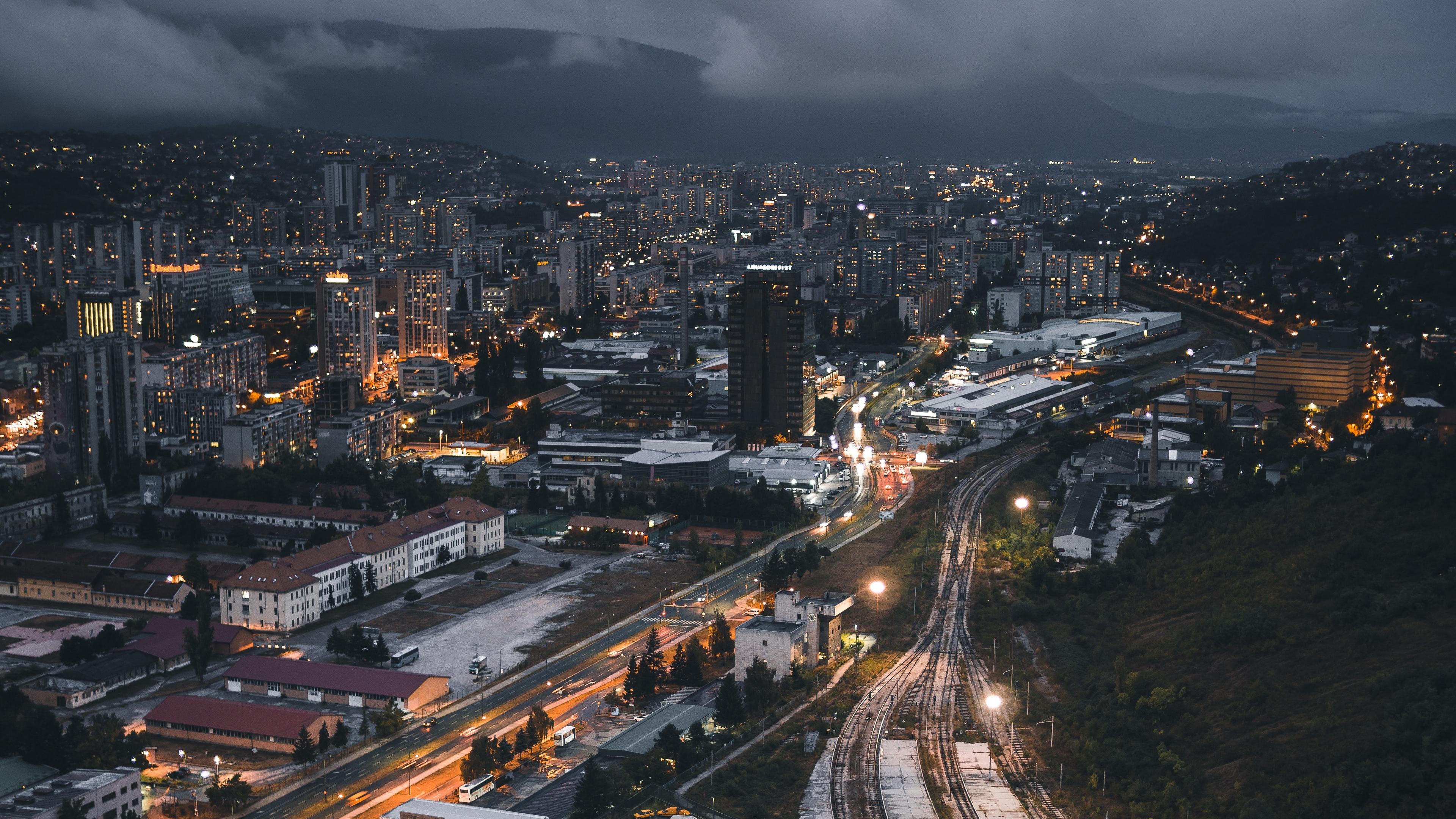 night city top view buildings railway 4k 1538068879 - night city, top view, buildings, railway 4k - top view, night city, buildings