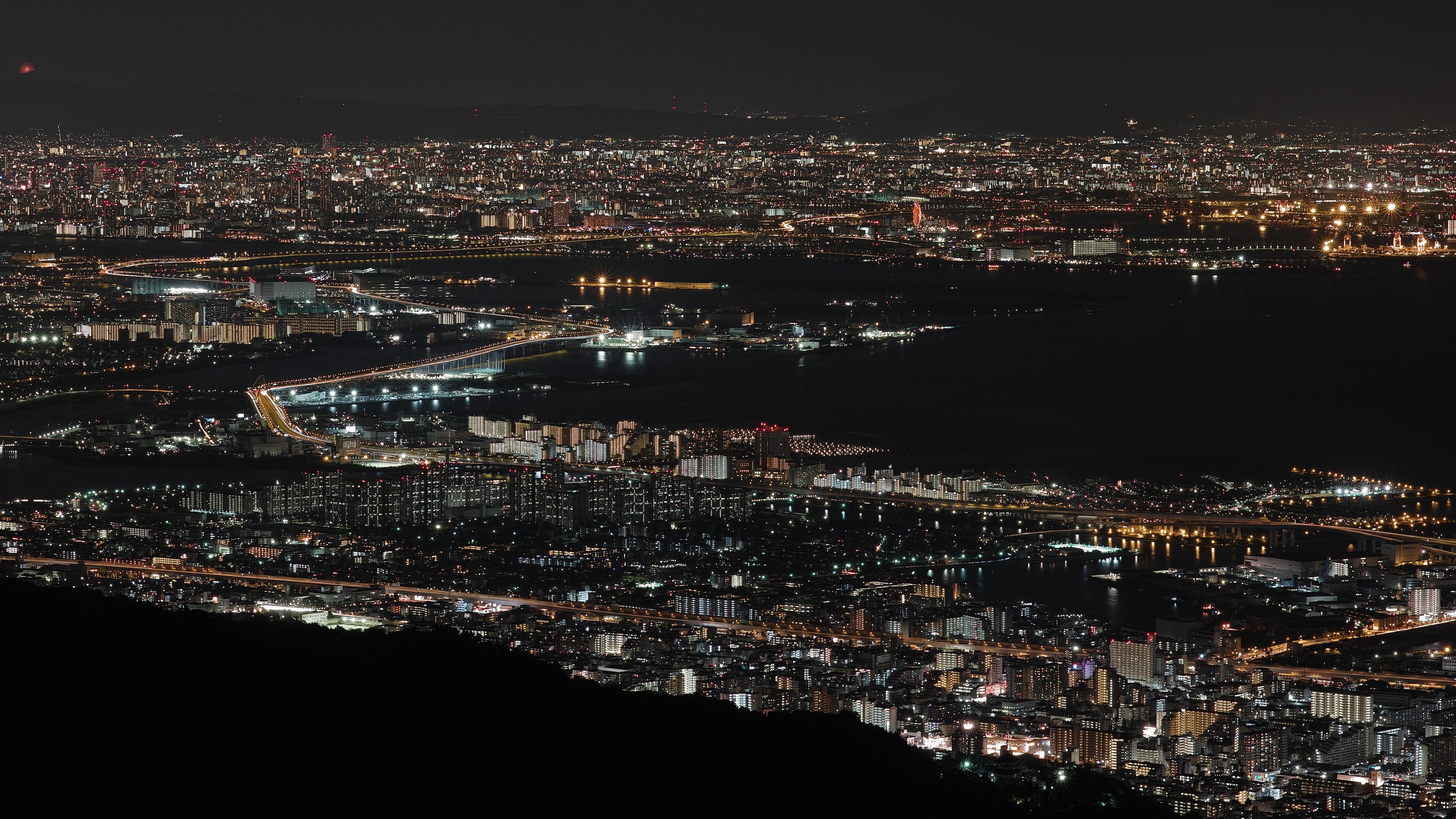 night city top view city lights bay osaka japan 4k 1538066261 - night city, top view, city lights, bay, osaka, japan 4k - top view, night city, city lights