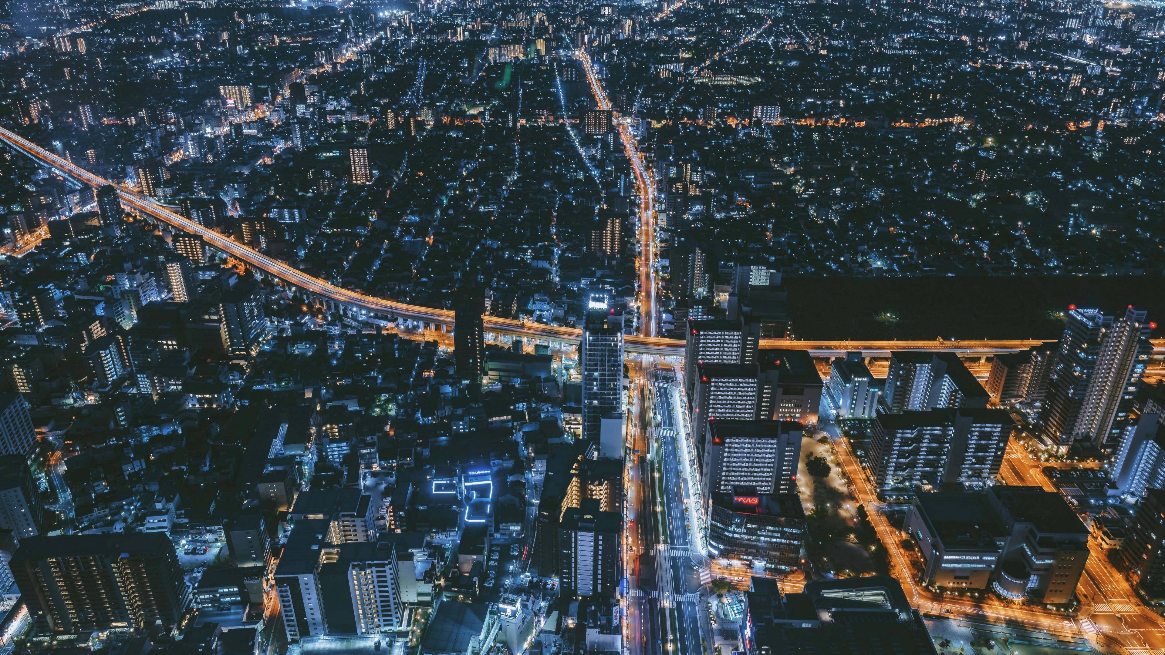 night city top view osaka japan 4k 1538066743 - night city, top view, osaka, japan 4k - top view, osaka, night city