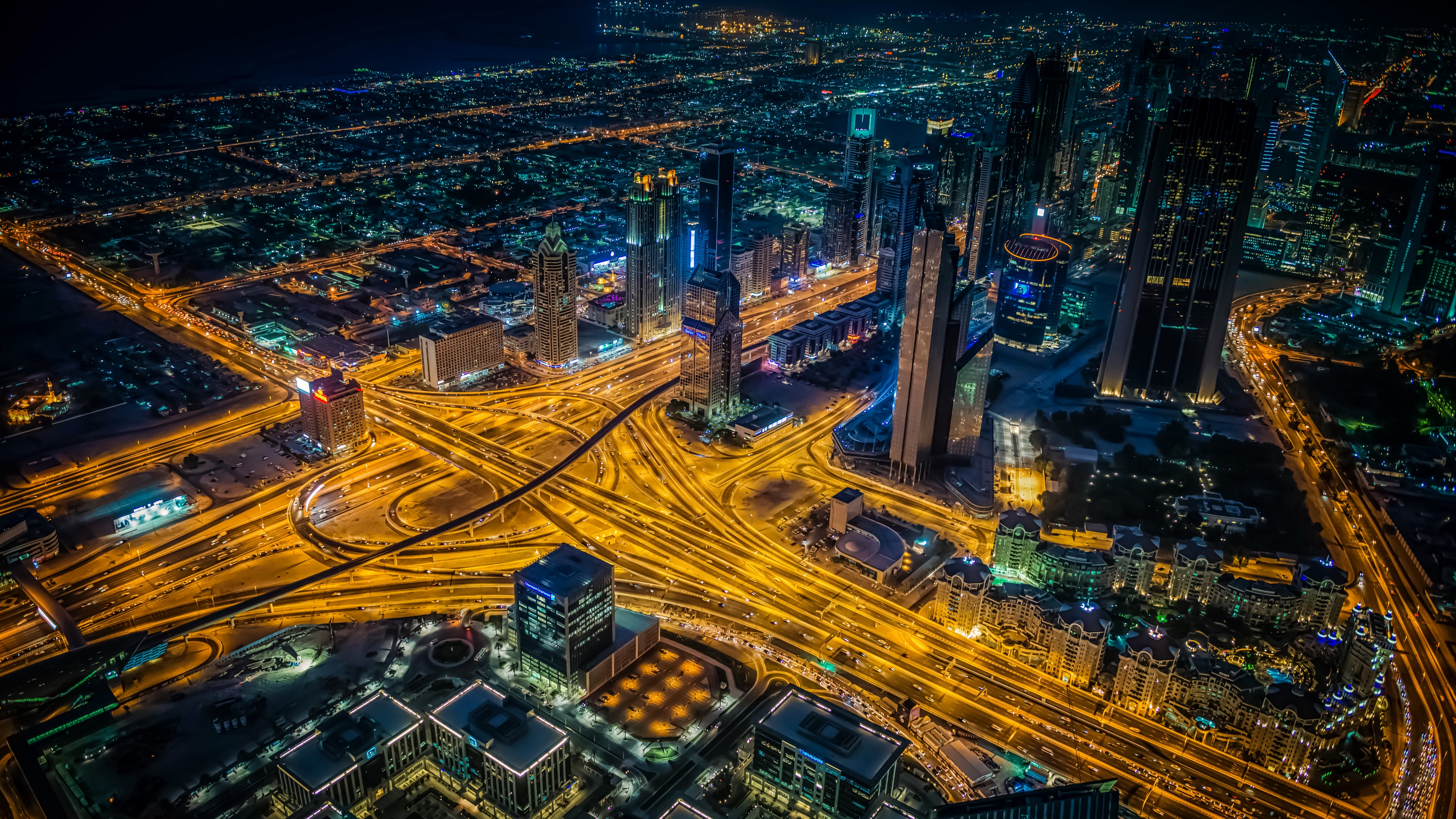 night city view from above intersection roads skyscrapers dubai 4k 1538066300 - night city, view from above, intersection, roads, skyscrapers, dubai 4k - view from above, night city, intersection