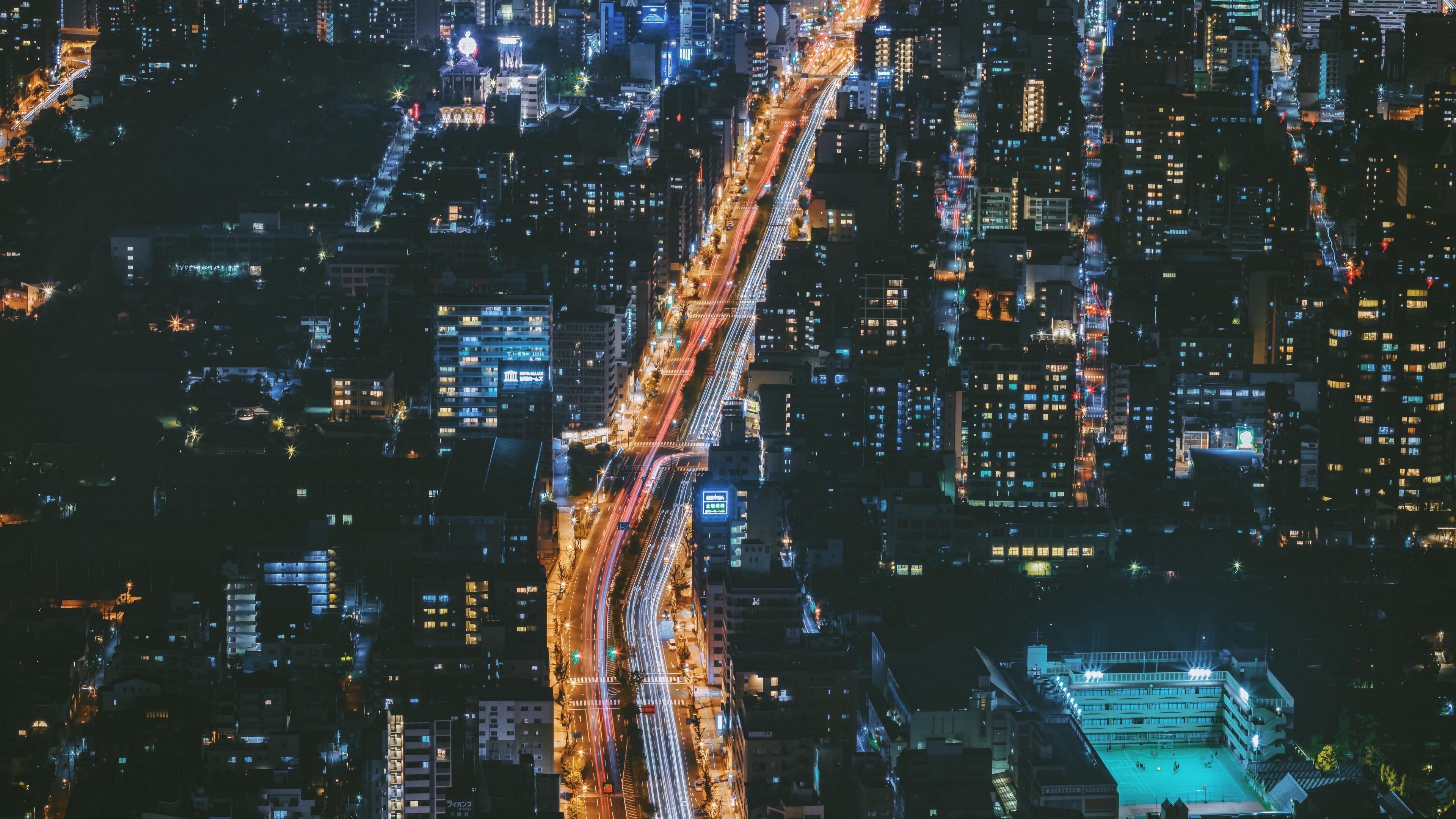 night city view from above osaka city lights japan 4k 1538066263 - night city, view from above, osaka, city lights, japan 4k - view from above, osaka, night city