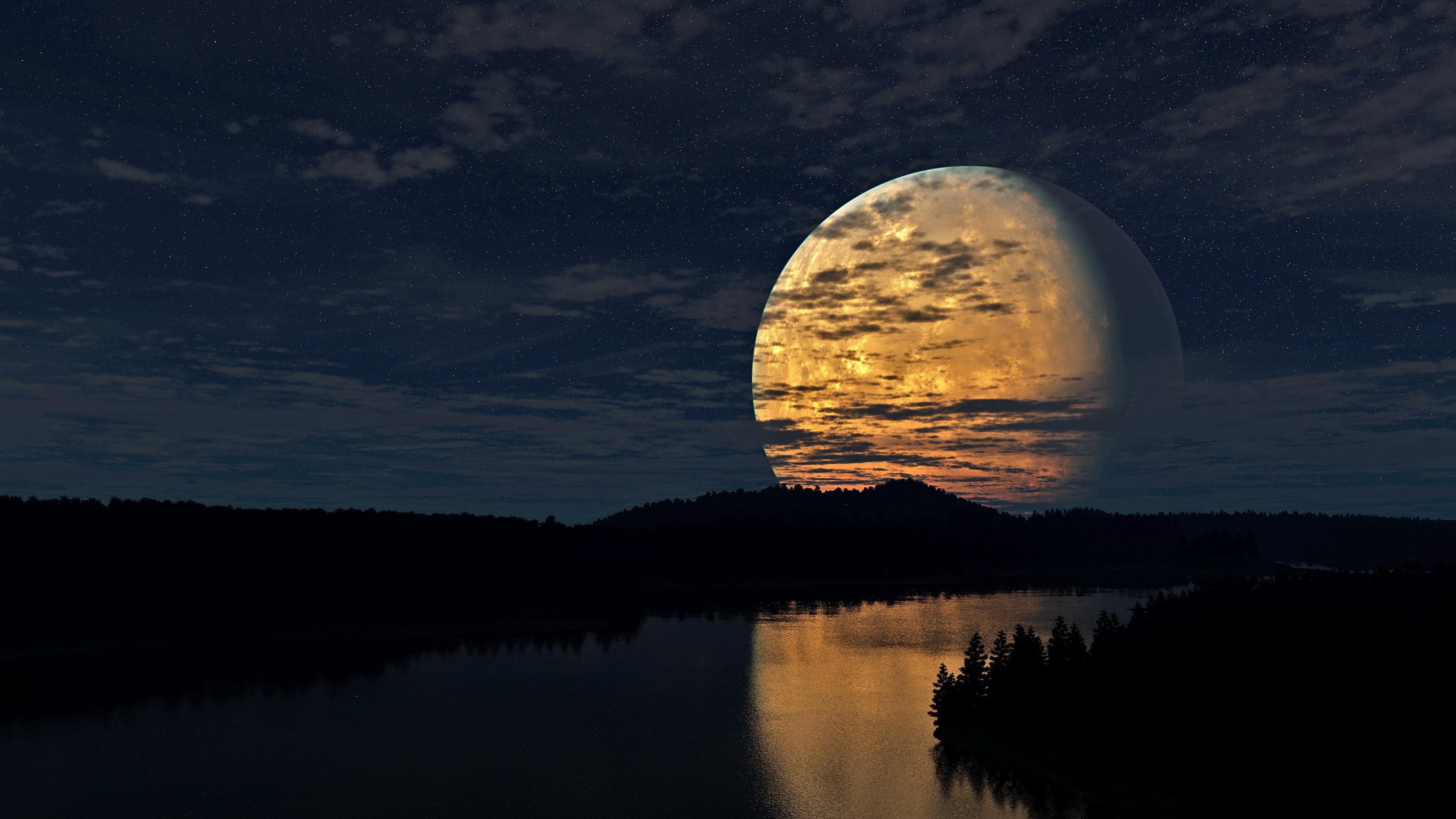 night sky moon river reflection 1535922931 - Night Sky Moon River Reflection - sky wallpapers, river wallpapers, reflection wallpapers, night wallpapers, nature wallpapers, moon wallpapers