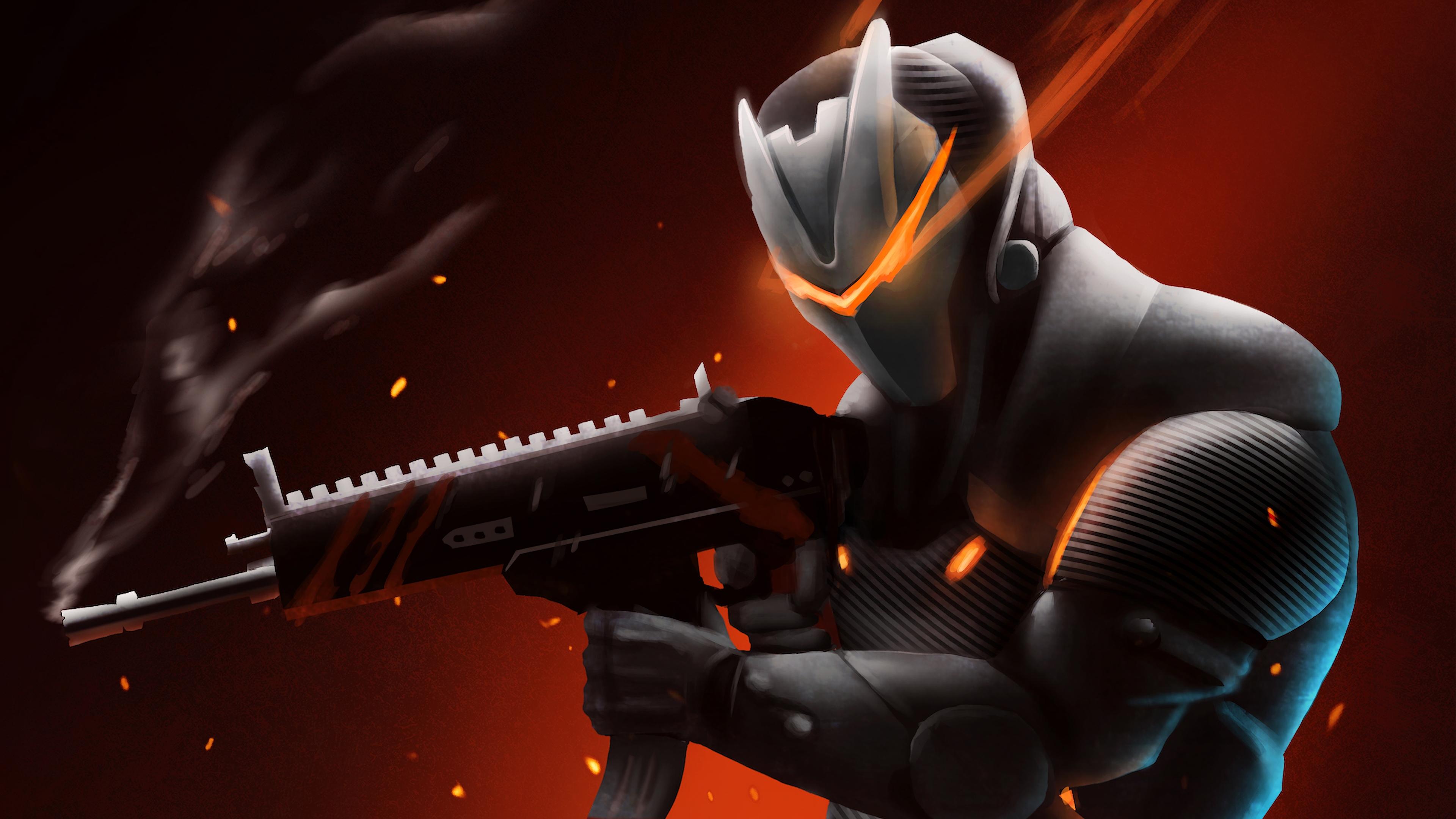 Desktop Wallpaper 2018 Video Game Fortnite Art Hd: Omega With Rifle Fortnite Battle Royale Ps Games