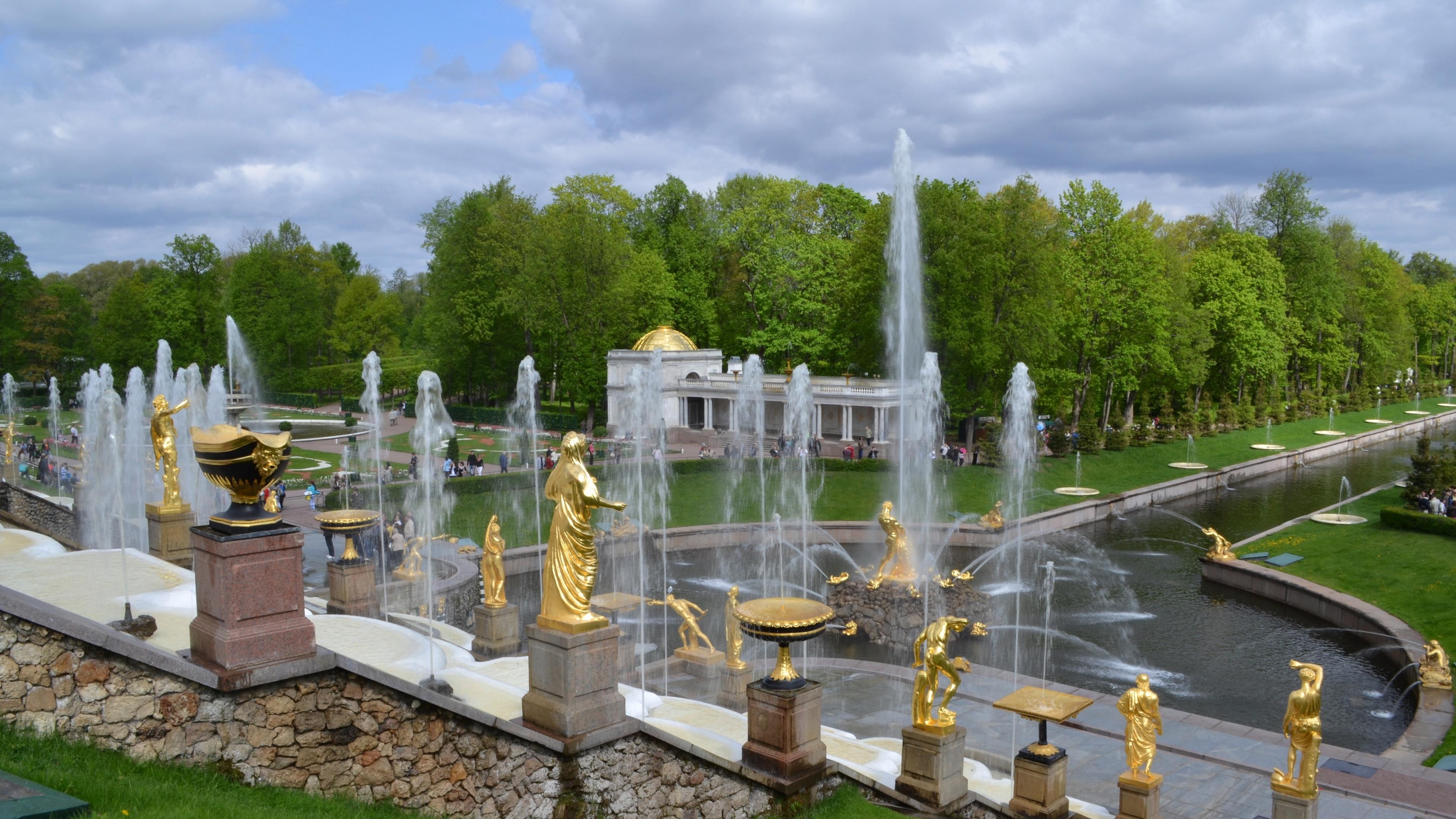 peterhof fountains park 4k 1538068819 - peterhof, fountains, park 4k - peterhof, Park, fountains