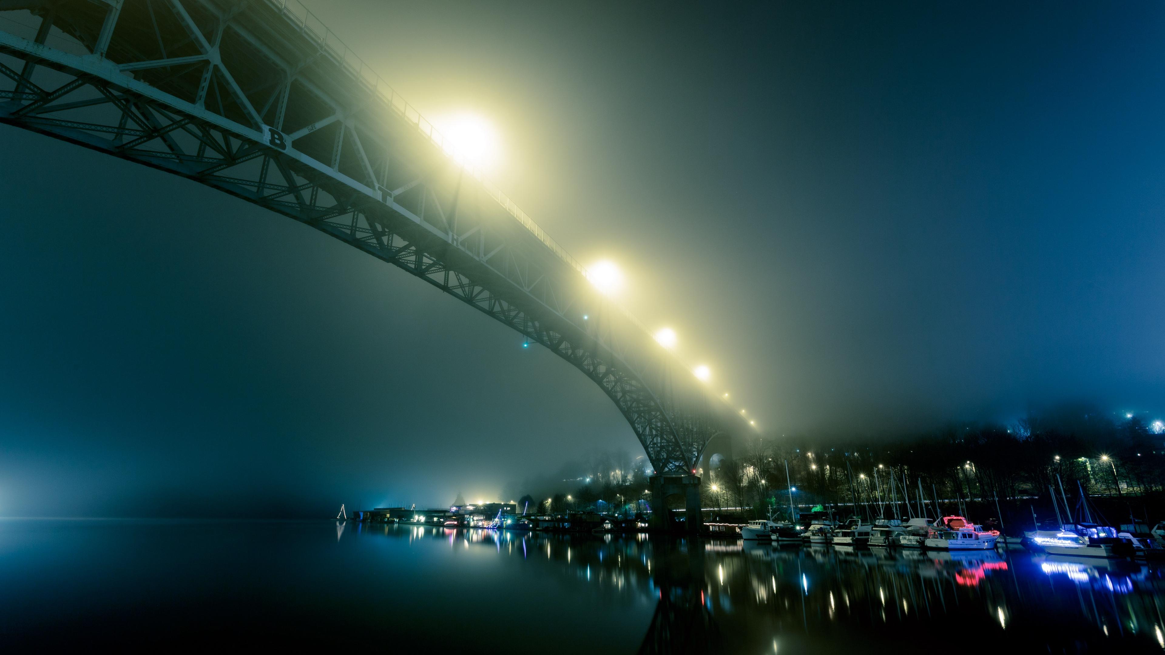 port fog bridge night city 4k 1538066257 - port, fog, bridge, night city 4k - port, fog, bridge