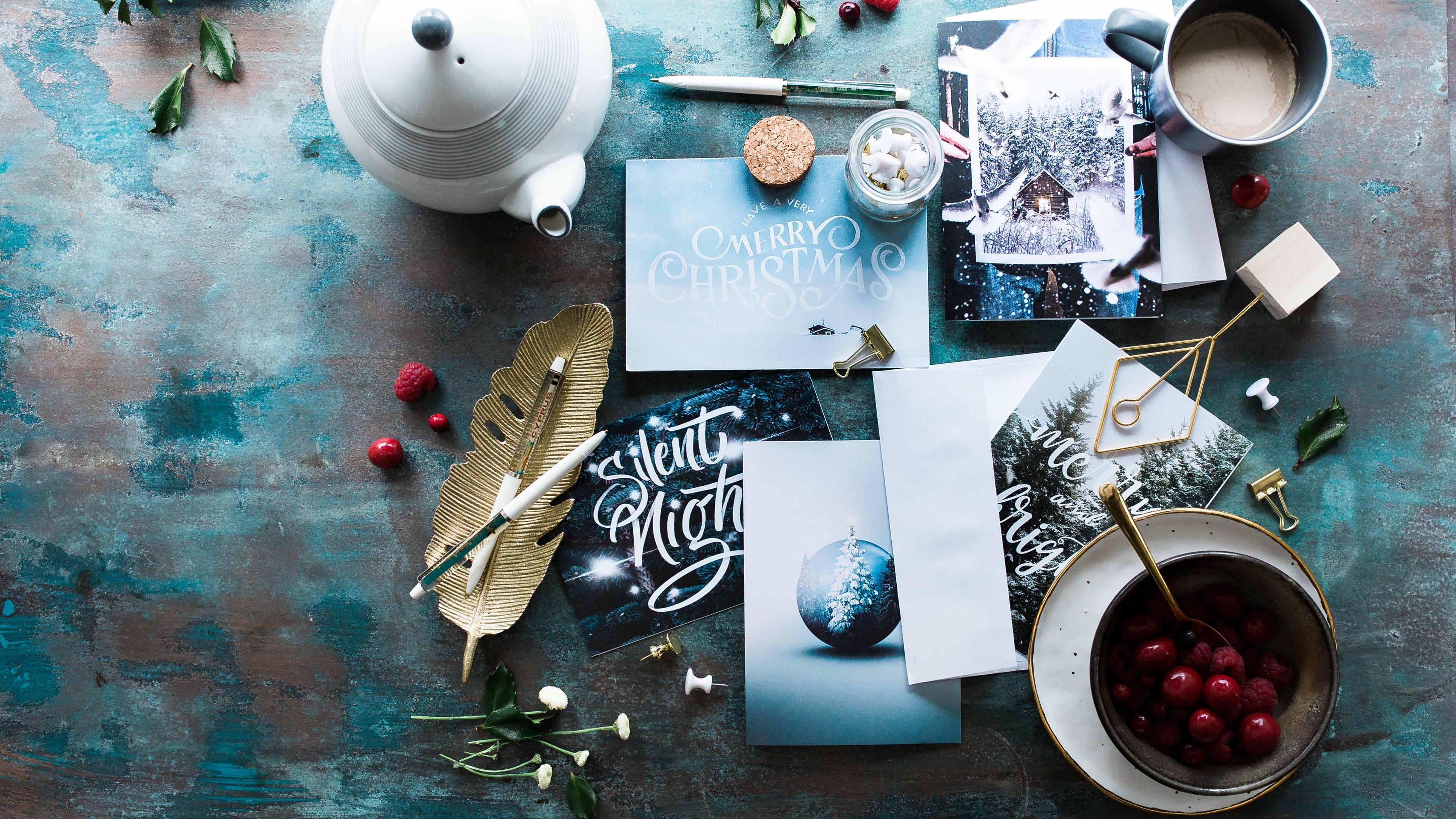 postcards christmas berries tea party 4k 1538344845 - postcards, christmas, berries, tea party 4k - postcards, Christmas, berries