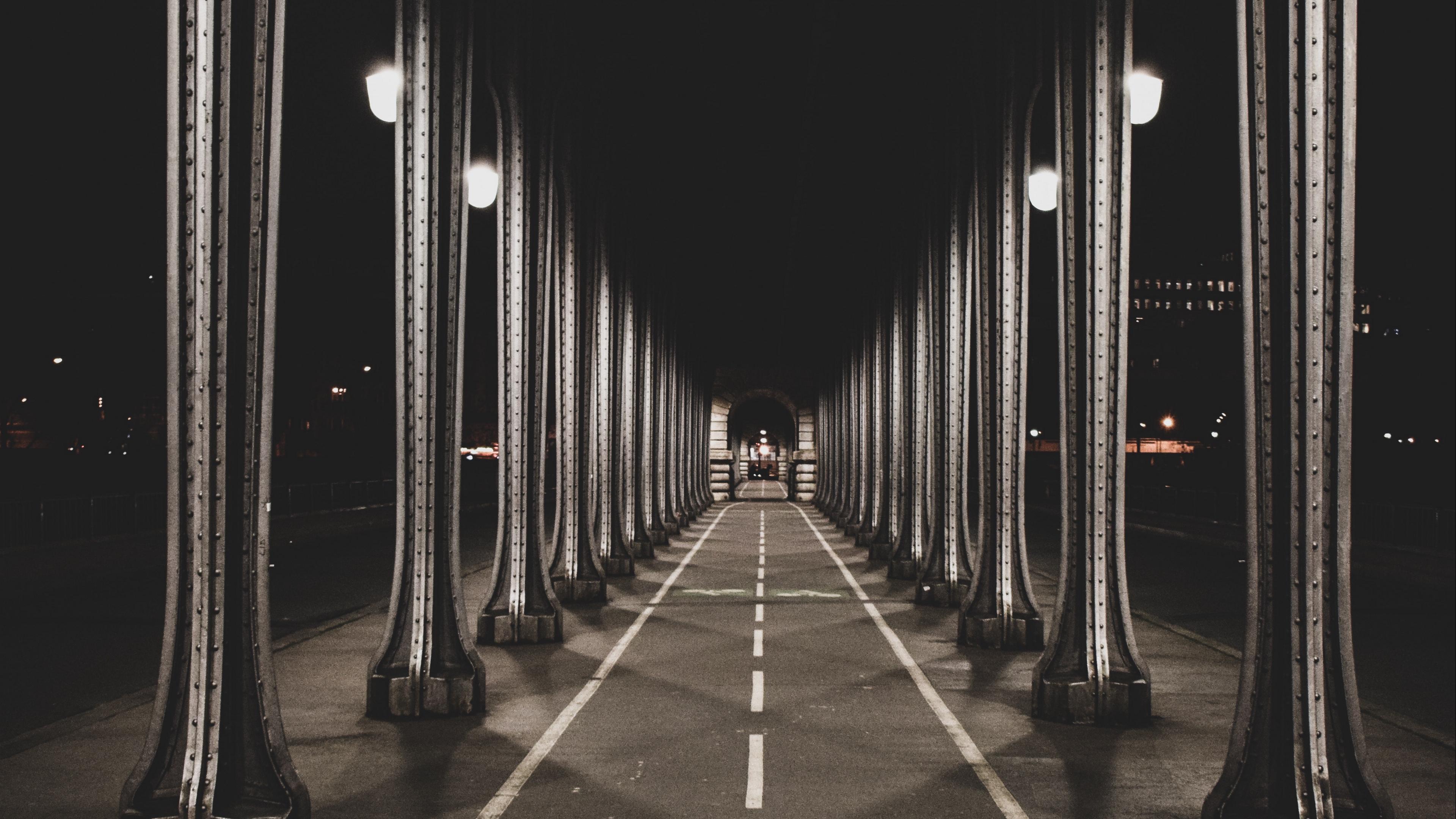 road marking columns night 4k 1538066637 - road, marking, columns, night 4k - Road, marking, columns