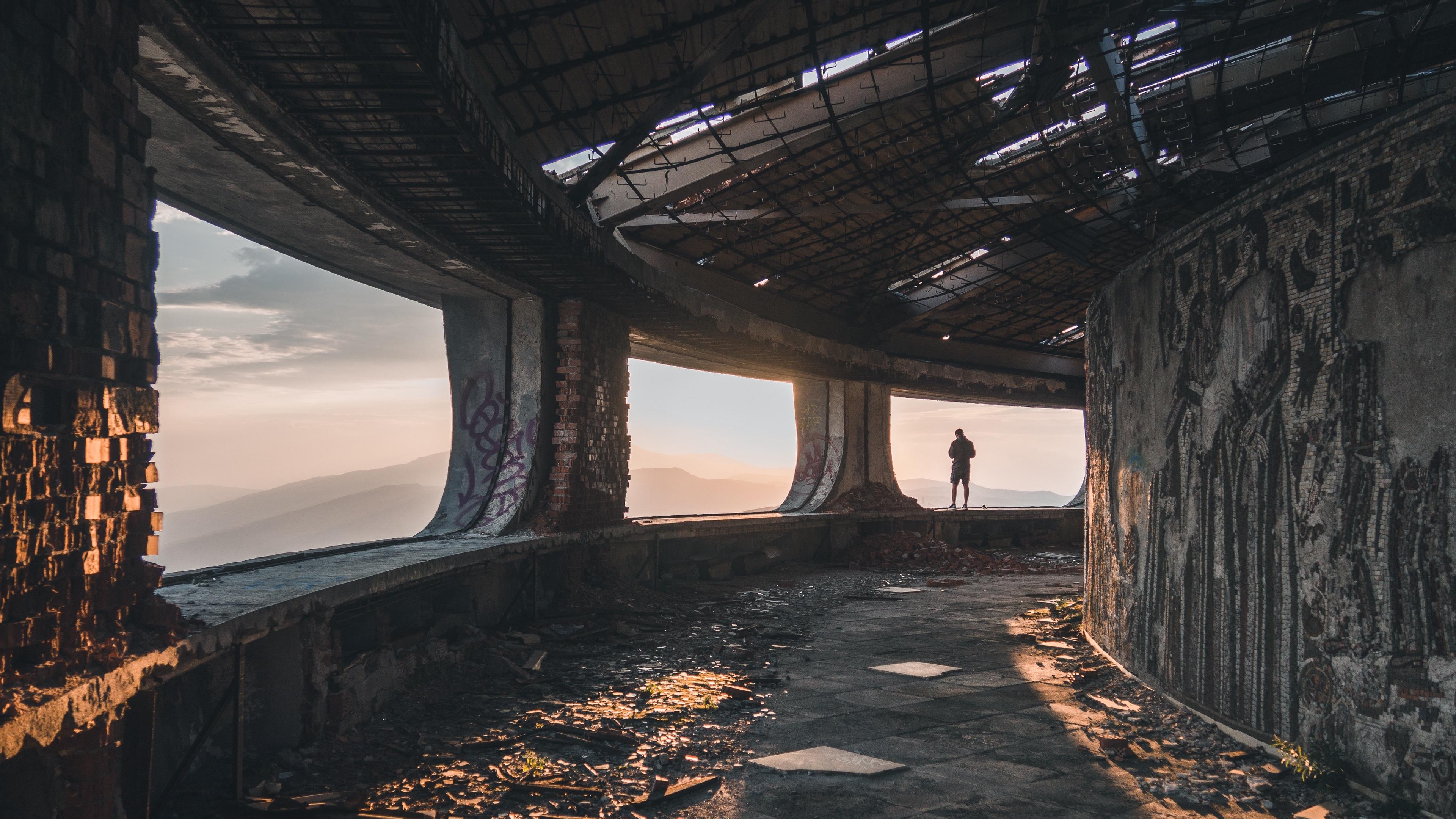 ruins man loneliness buzludzha bulgaria 4k 1538068449 - ruins, man, loneliness, buzludzha, bulgaria 4k - Ruins, Man, loneliness