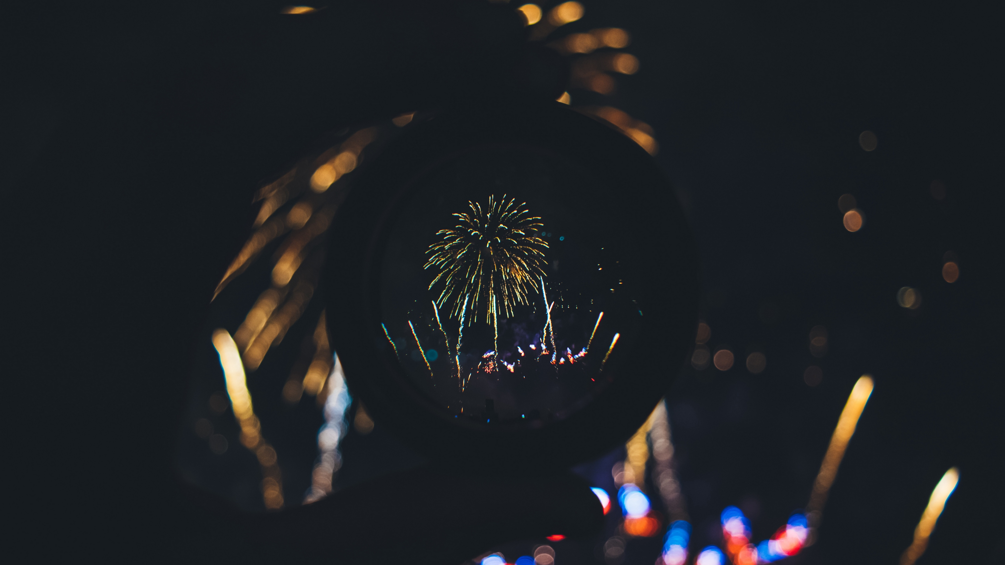 salute fireworks lens holiday 4k 1538345137 - salute, fireworks, lens, holiday 4k - salute, lens, Fireworks