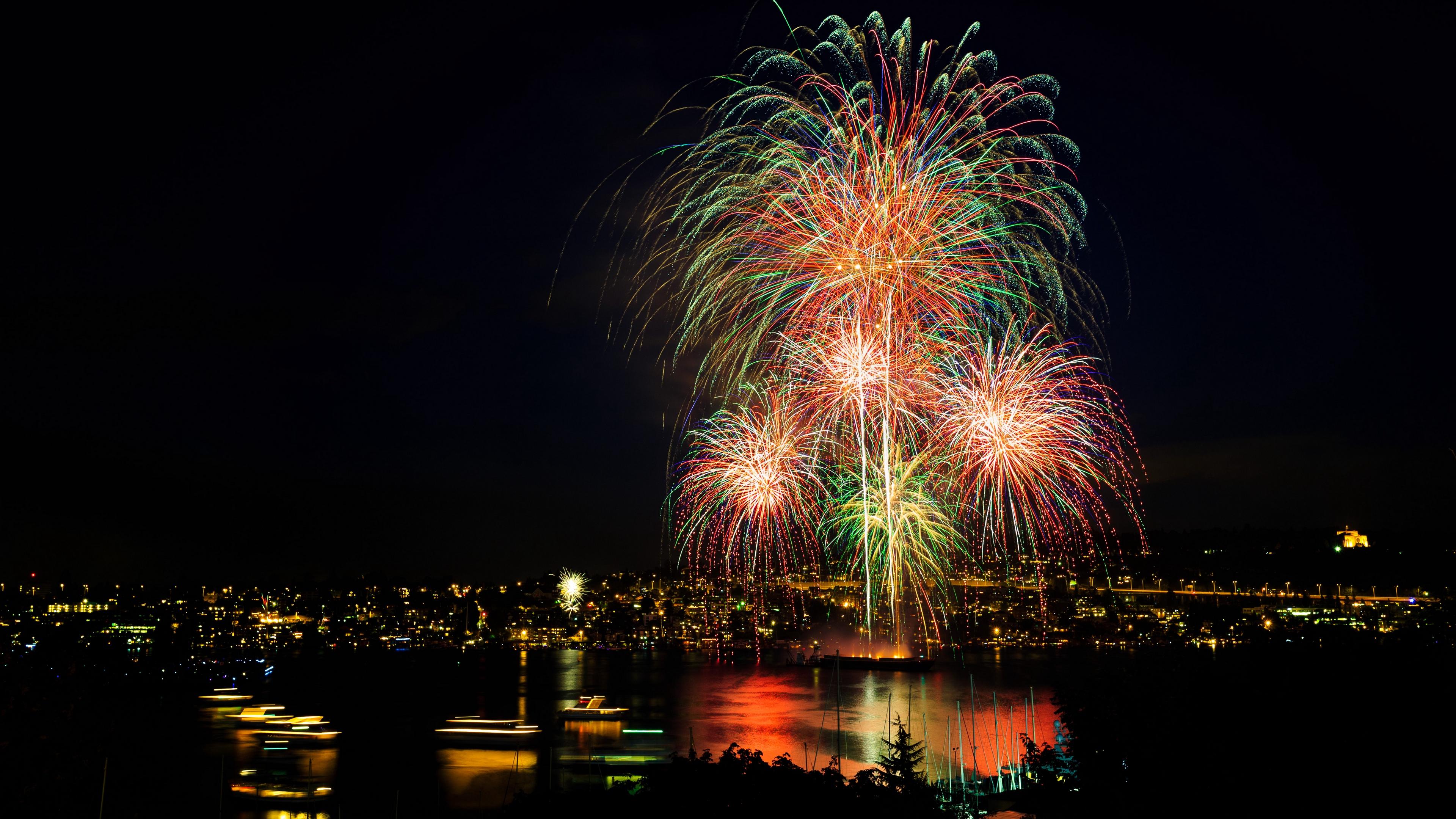 salute fireworks night city city lights seattle 4k 1538067578 - salute, fireworks, night city, city lights, seattle 4k - salute, night city, Fireworks