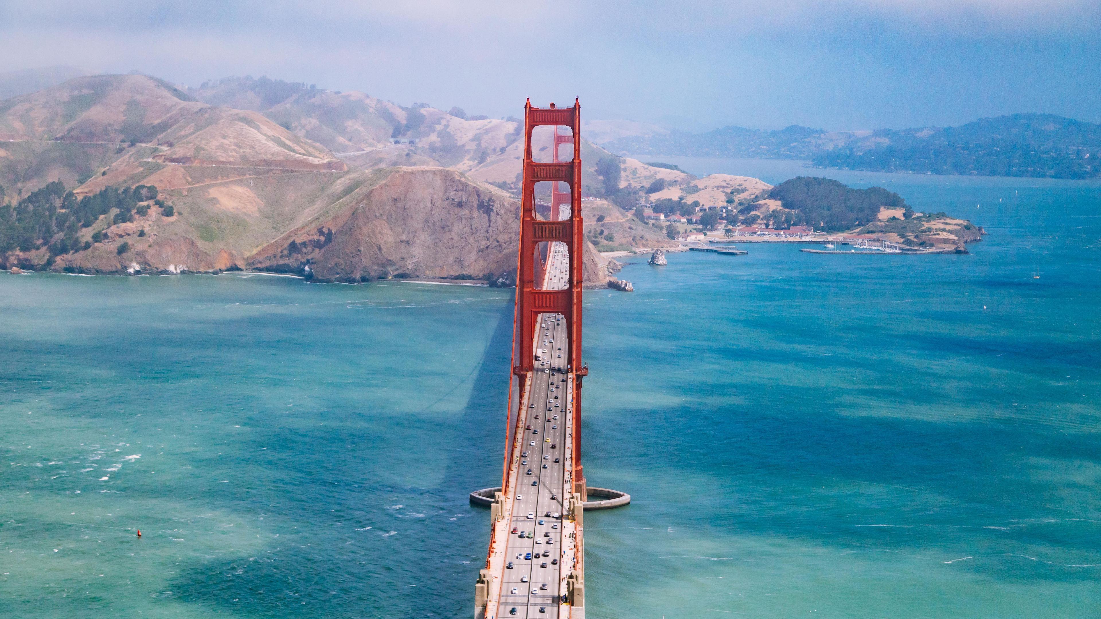 san francisco bridge aerial view 5k 1538072022 - San Francisco Bridge Aerial View 5k - world wallpapers, san franciso wallpapers, hd-wallpapers, city wallpapers, bridge wallpapers, aerial wallpapers, 5k wallpapers, 4k-wallpapers