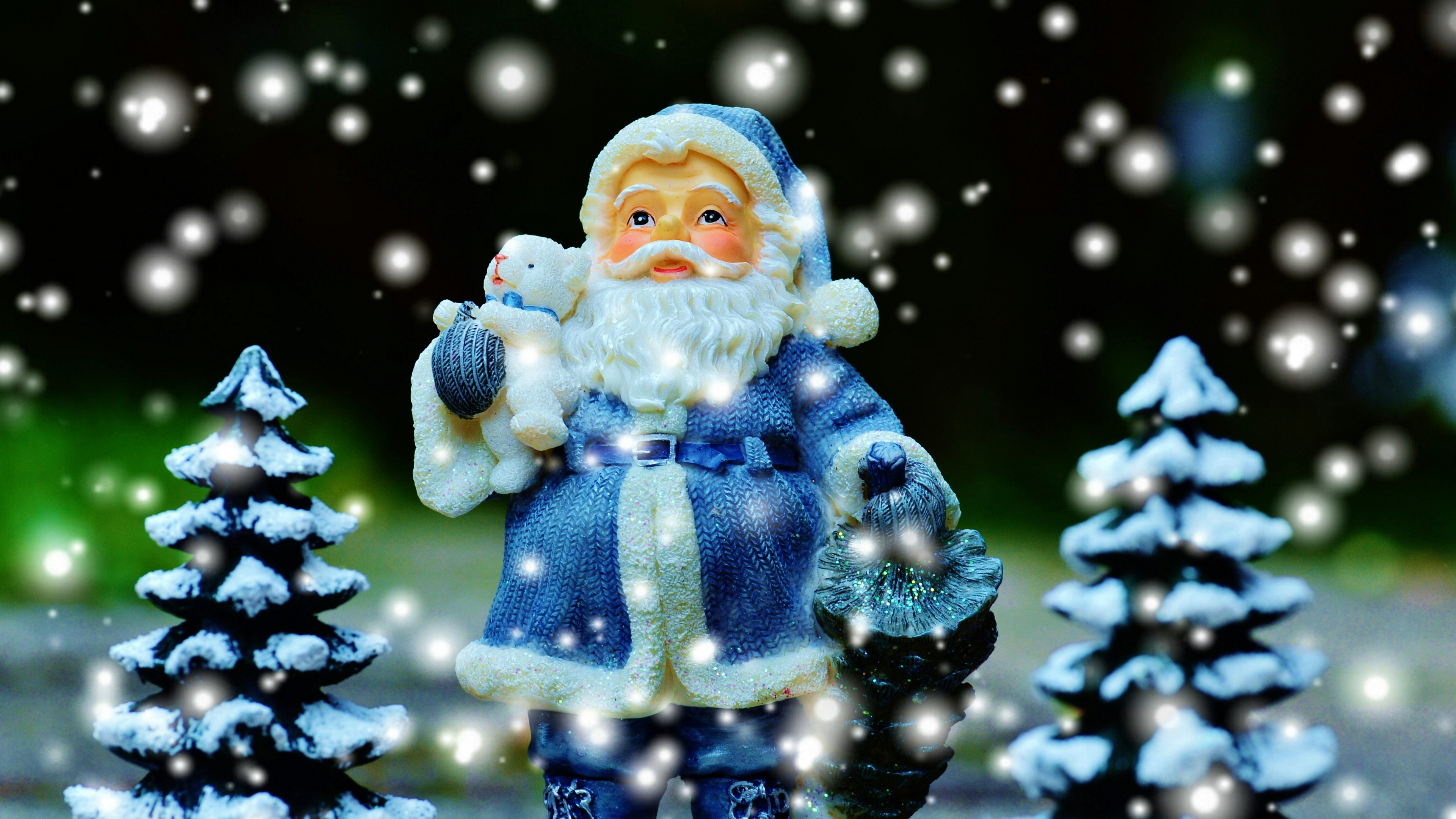 santa claus christmas trees new year christmas 4k 1538344809 - santa claus, christmas trees, new year, christmas 4k - santa claus, new year, christmas trees