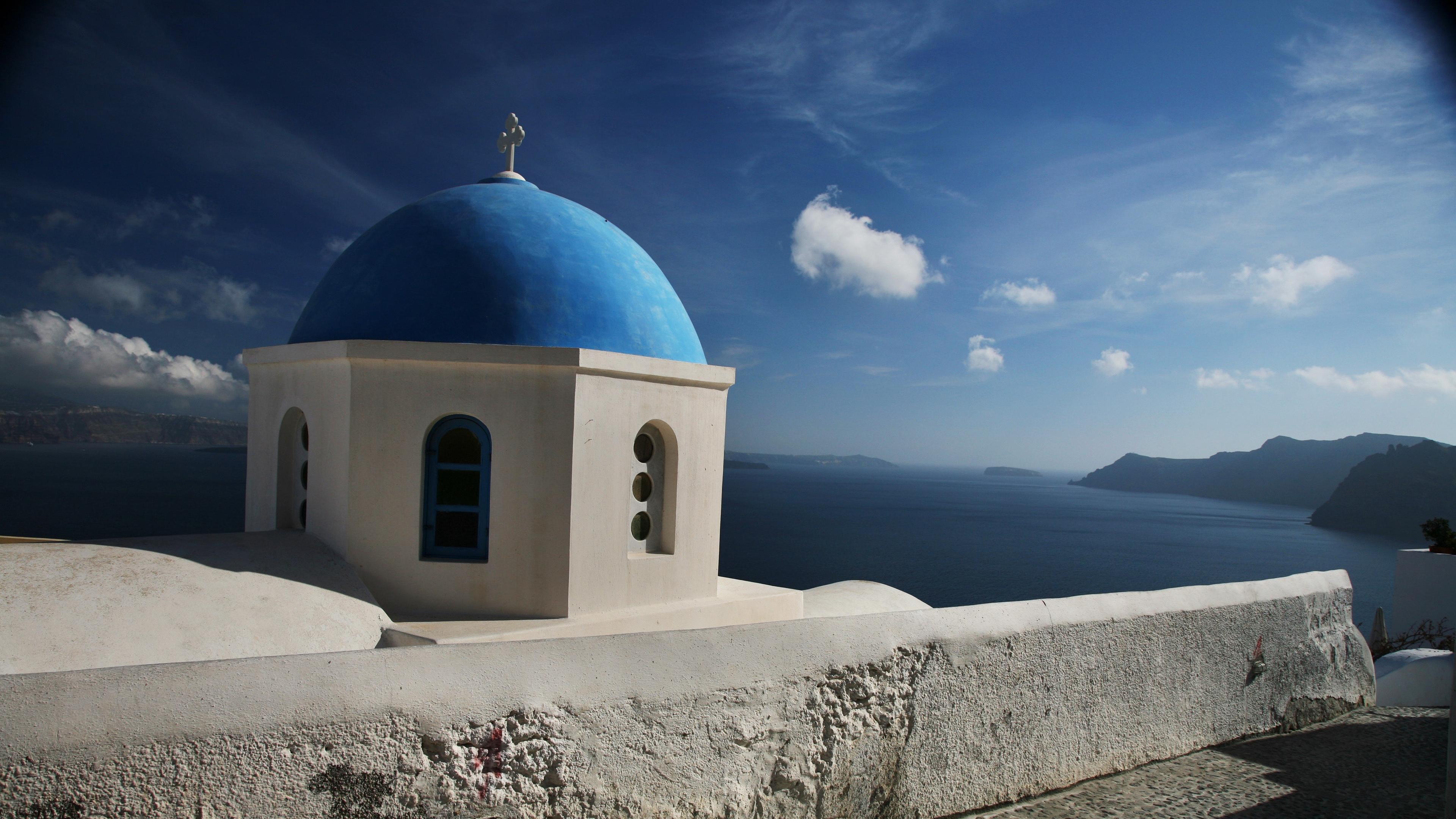 santorini greece clouds dome church sky sea mountains 4k 1538066729 - santorini, greece, clouds, dome, church, sky, sea, mountains 4k - santorini, Greece, Clouds