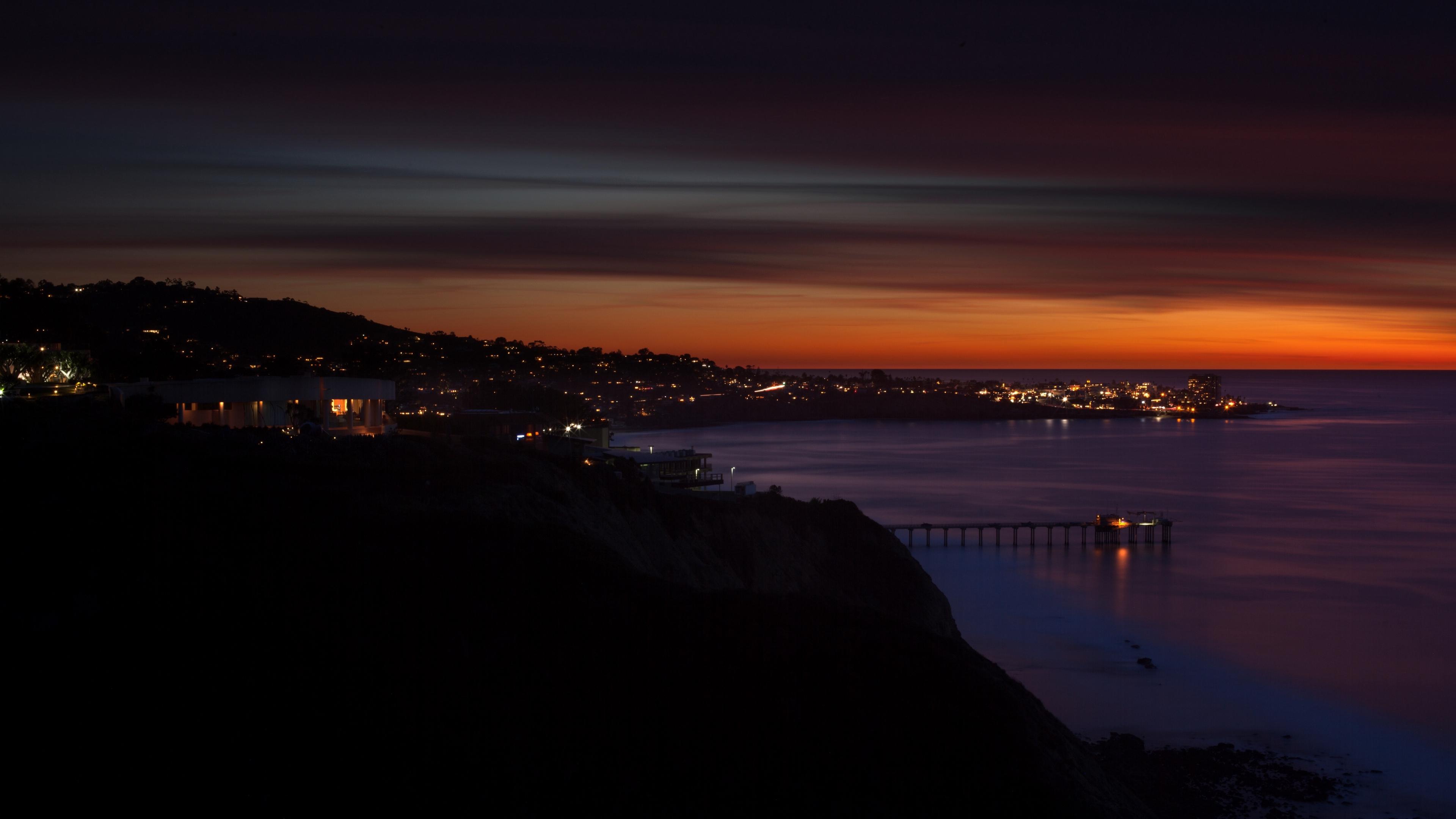 scripps usa beach night sunset 4k 1538066405 - scripps, usa, beach, night, sunset 4k - USA, scripps, Beach