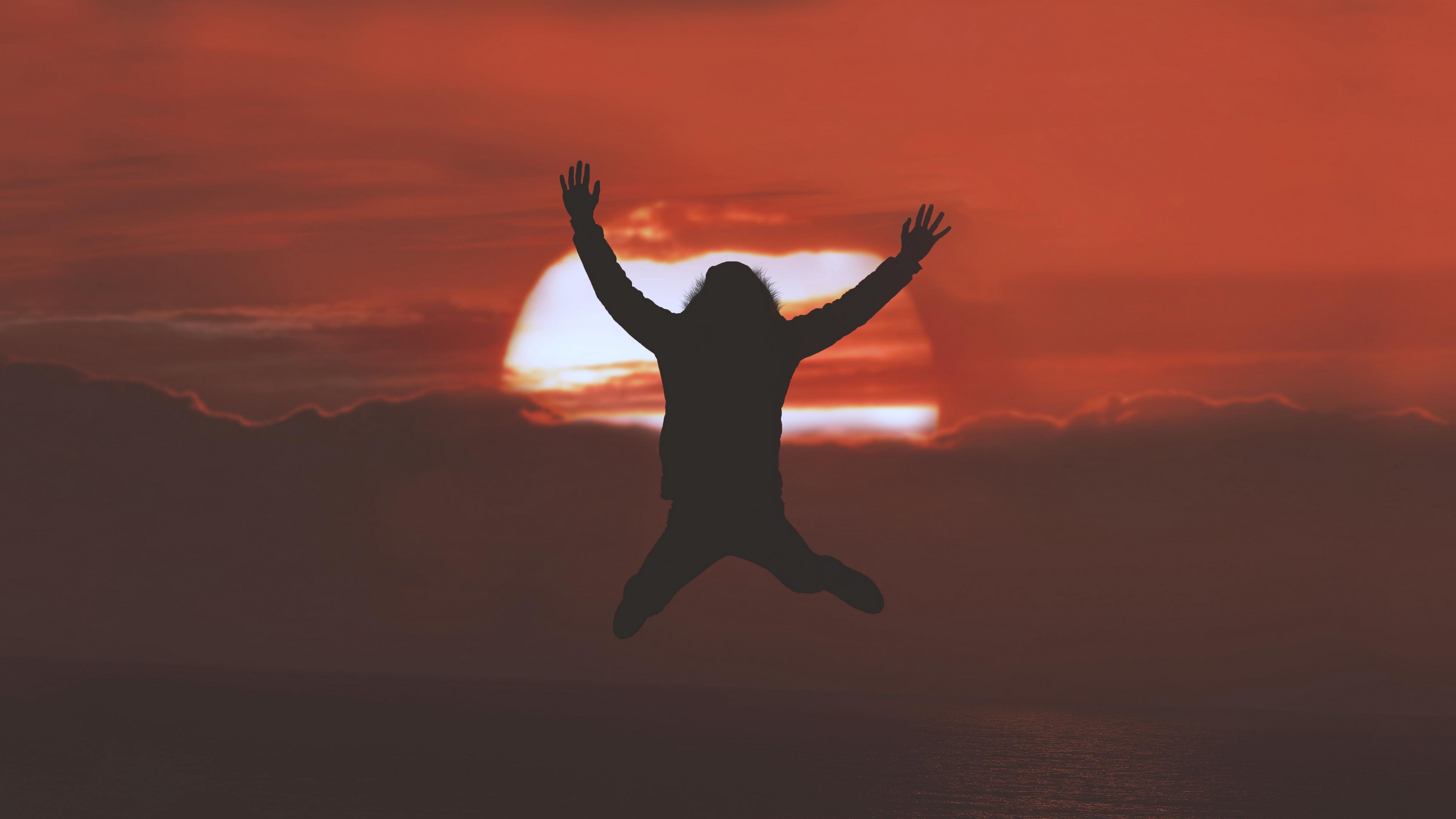 silhouette jump sunset horizon 4k 1536017753 - silhouette, jump, sunset, horizon 4k - sunset, Silhouette, jump