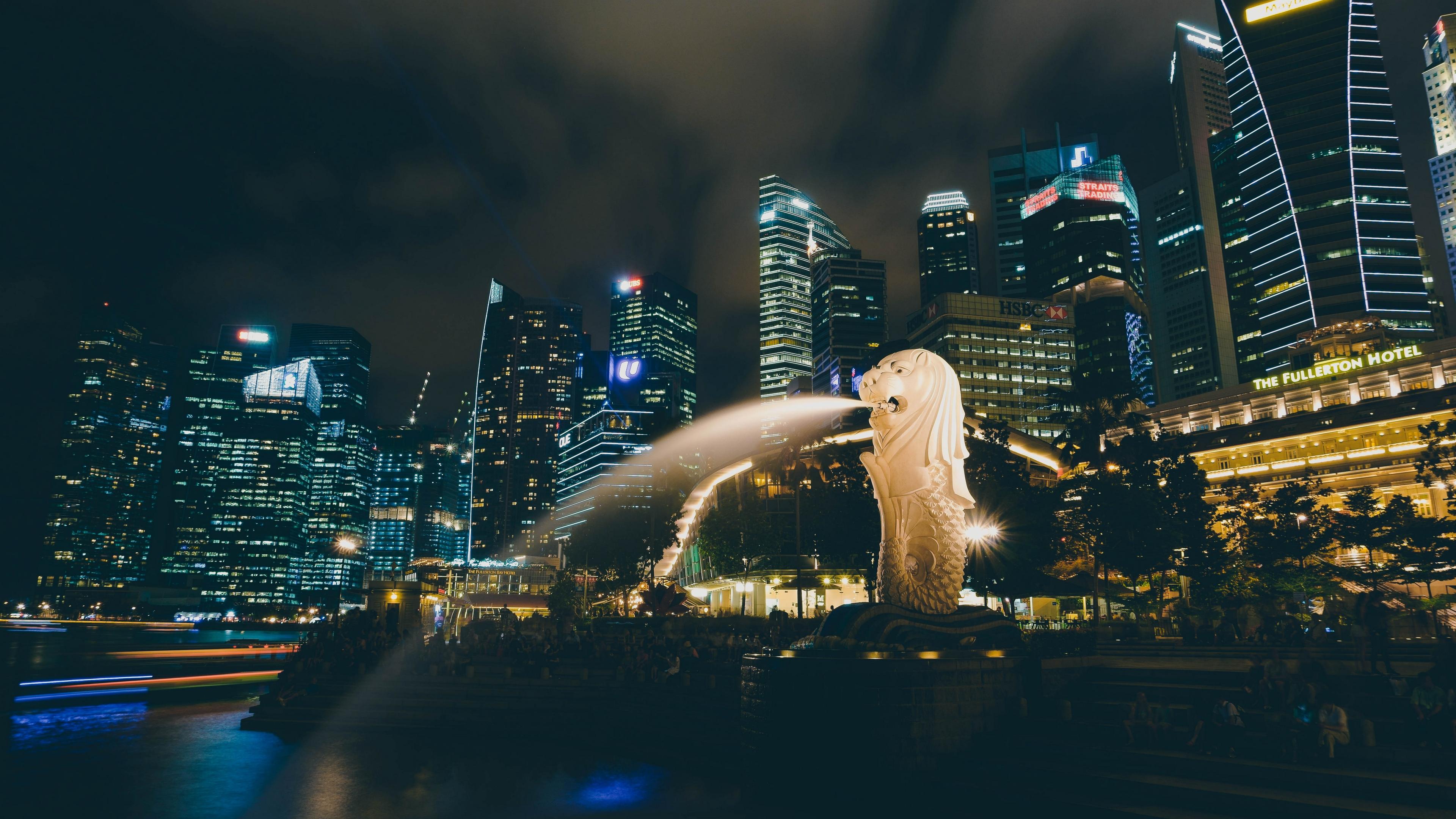 singapore fountain skyscrapers 4k 1538064993 - singapore, fountain, skyscrapers 4k - Skyscrapers, Singapore, Fountain