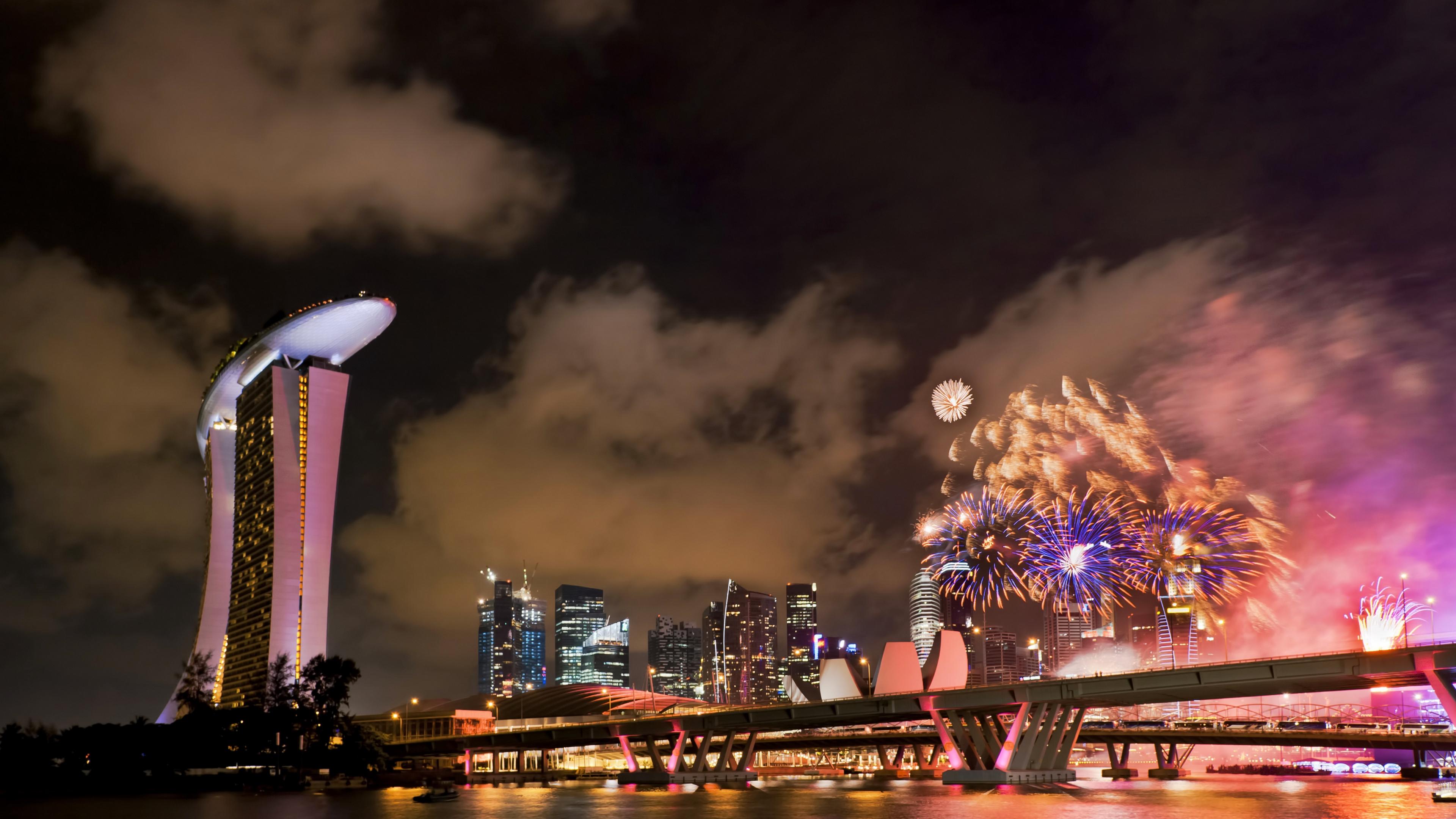 singapore holiday fireworks bridge 4k 1538065015 - singapore, holiday, fireworks, bridge 4k - Singapore, Holiday, Fireworks