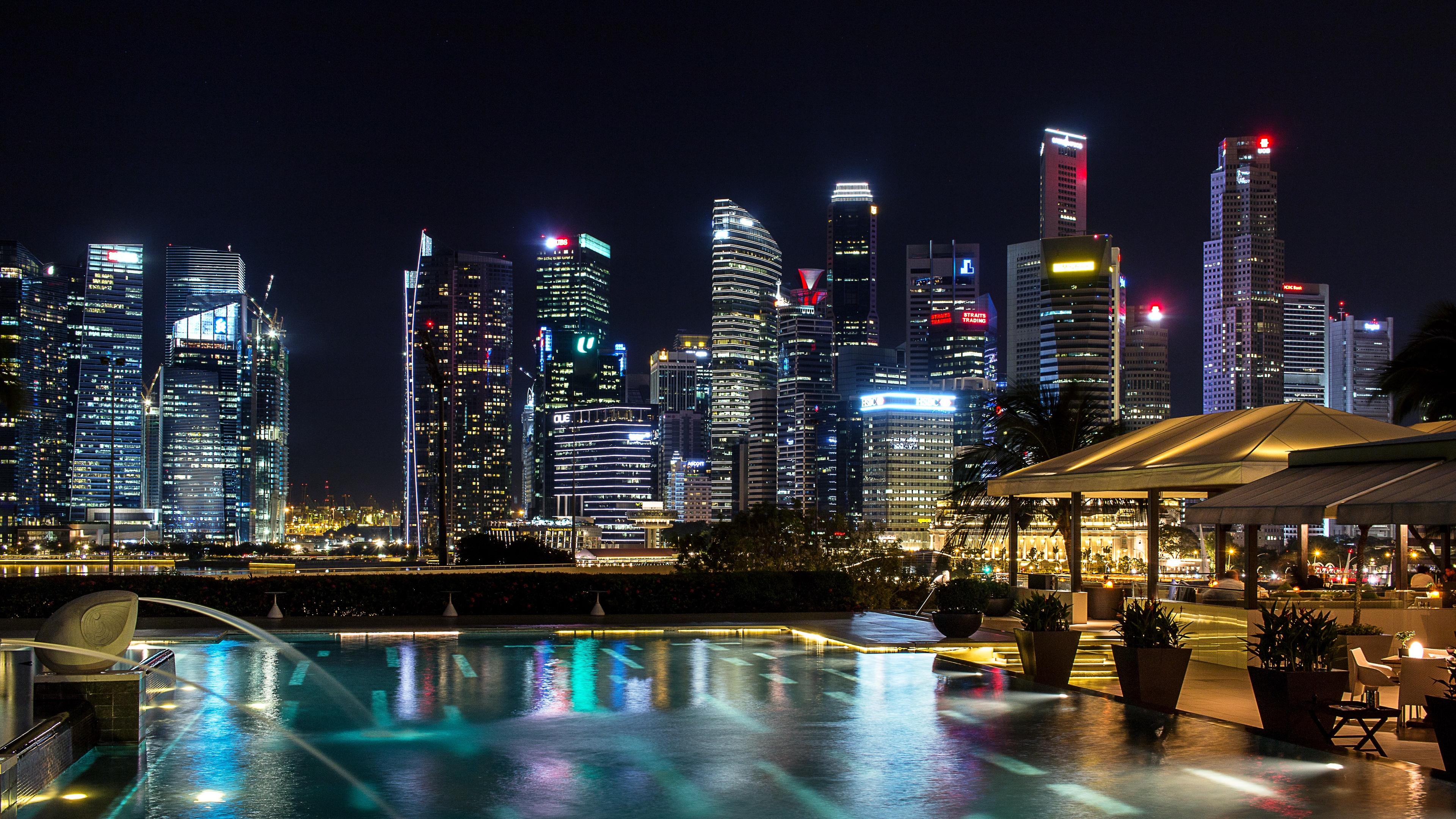 singapore light show night skyscrapers 4k 1538067121 - singapore, light show, night, skyscrapers 4k - Singapore, Night, light show