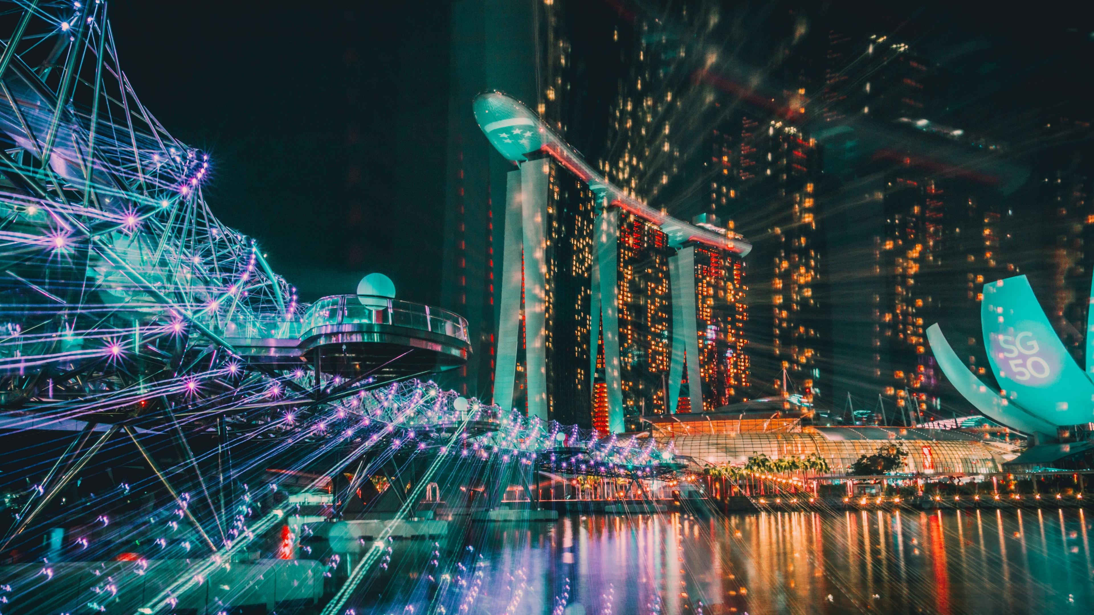 singapore night building 4k 1538065496 - singapore, night, building 4k - Singapore, Night, Building