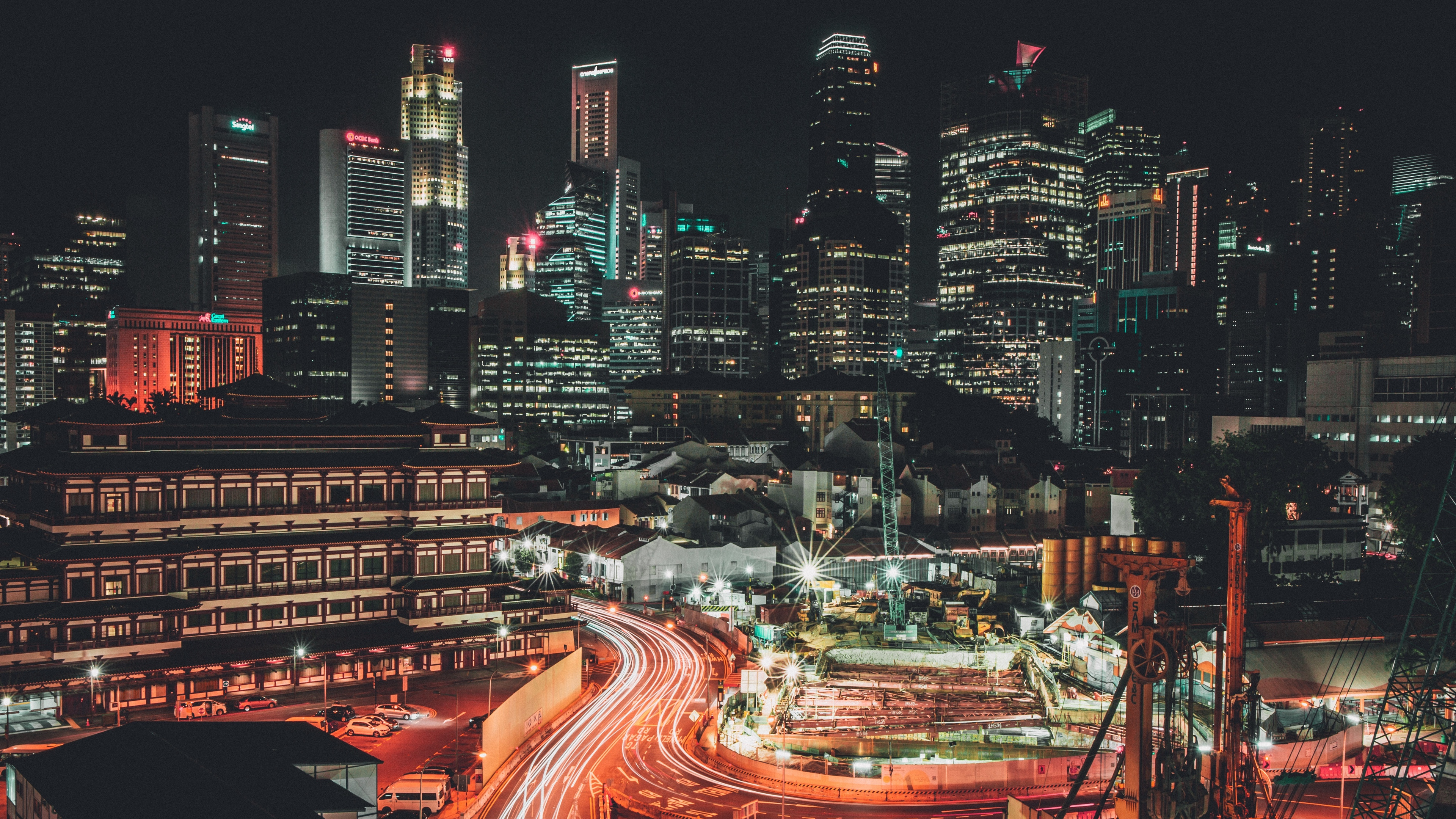 singapore night skyscrapers 4k 1538065066 - singapore, night, skyscrapers 4k - Skyscrapers, Singapore, Night