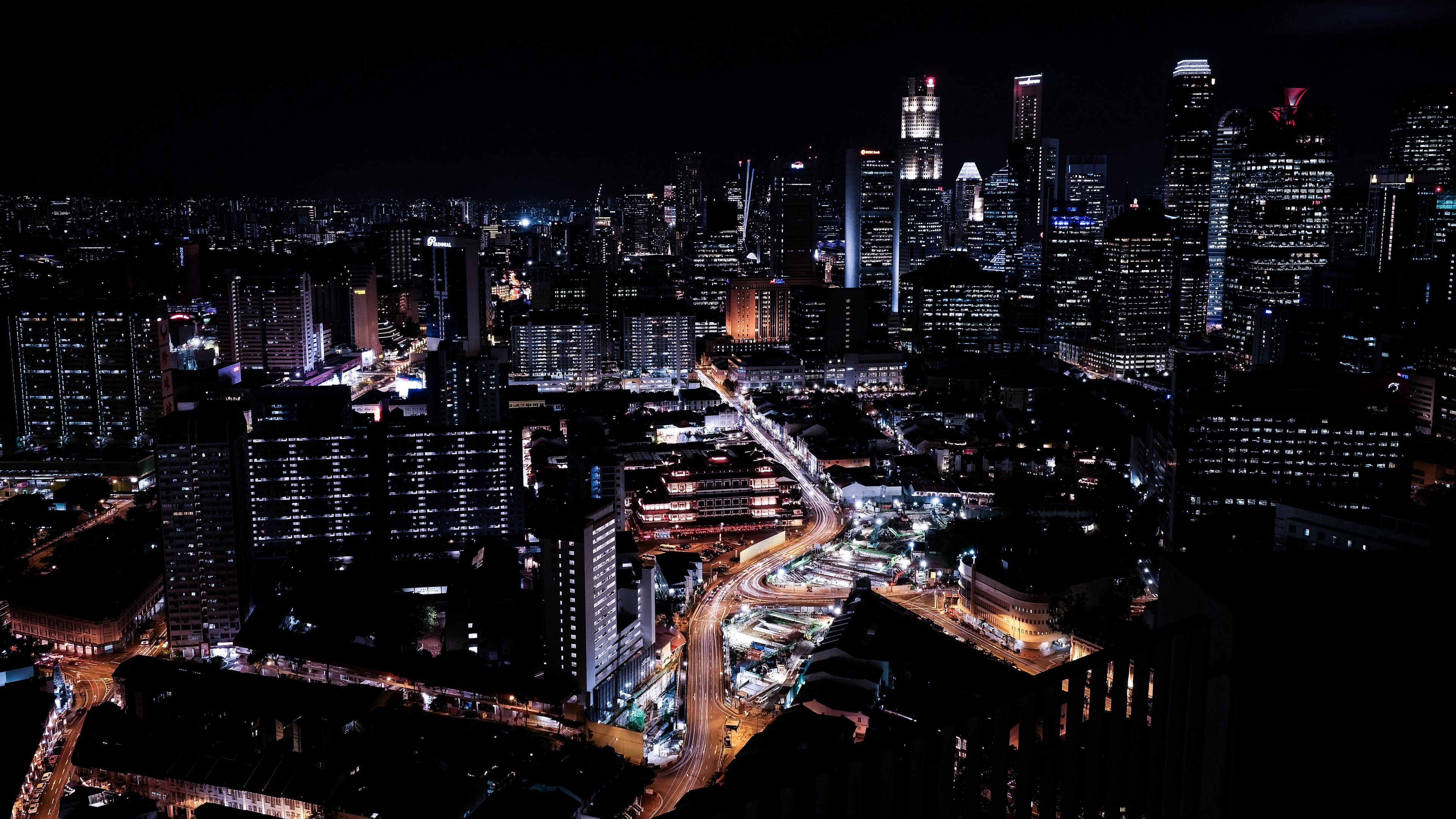 singapore skyscrapers night night city 4k 1538066293 - singapore, skyscrapers, night, night city 4k - Skyscrapers, Singapore, Night