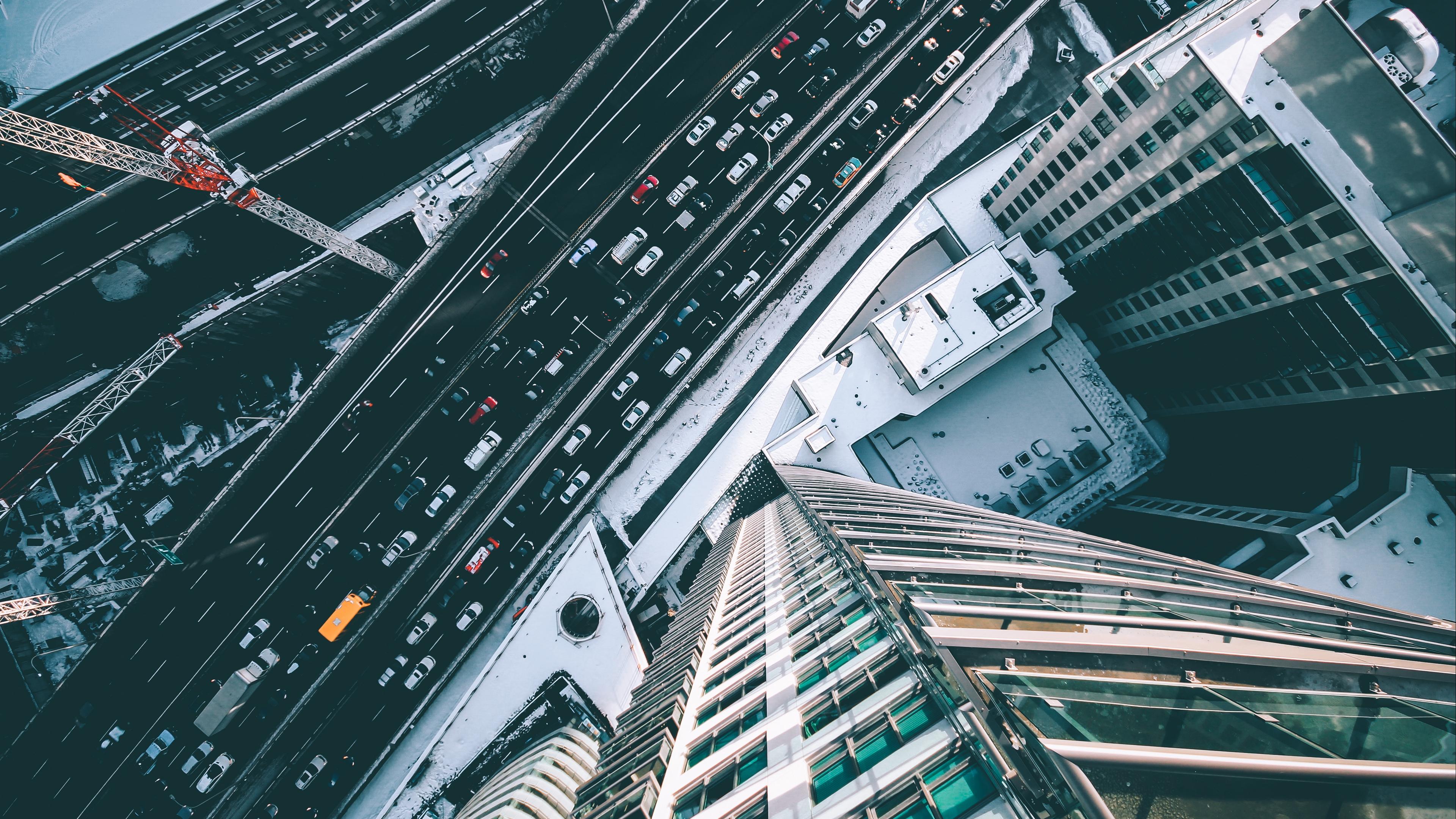 skyscrapers top view road traffic 4k 1538068193 - skyscrapers, top view, road, traffic 4k - top view, Skyscrapers, Road
