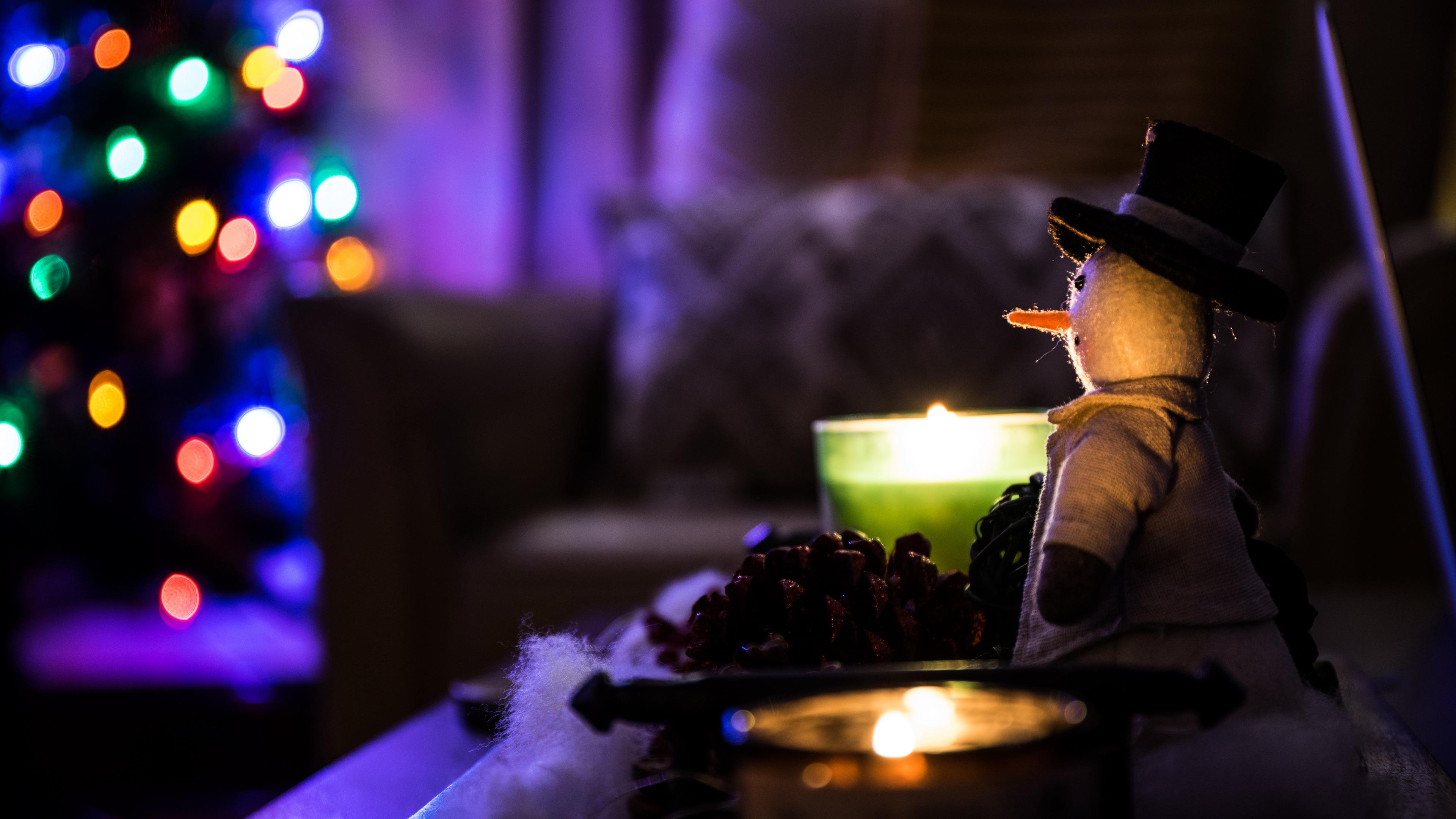 snowman christmas candles 4k 1538345237 - snowman, christmas, candles 4k - Snowman, Christmas, Candles