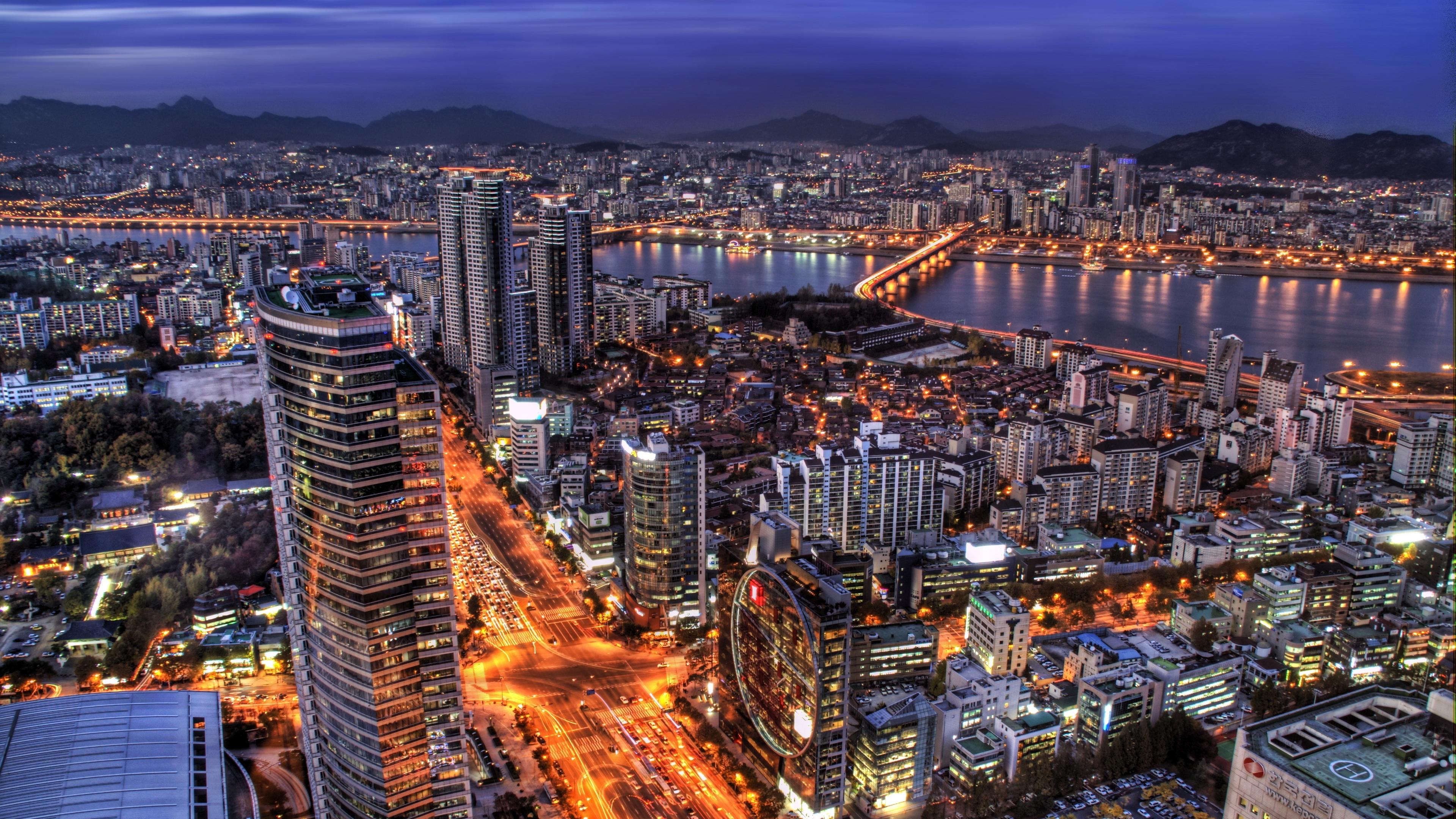 south korea seoul capital city evening skyscrapers lights blue sky hdr 4k 1538068153 - south korea, seoul, capital city, evening, skyscrapers, lights, blue, sky, hdr 4k - south korea, Seoul, capital city