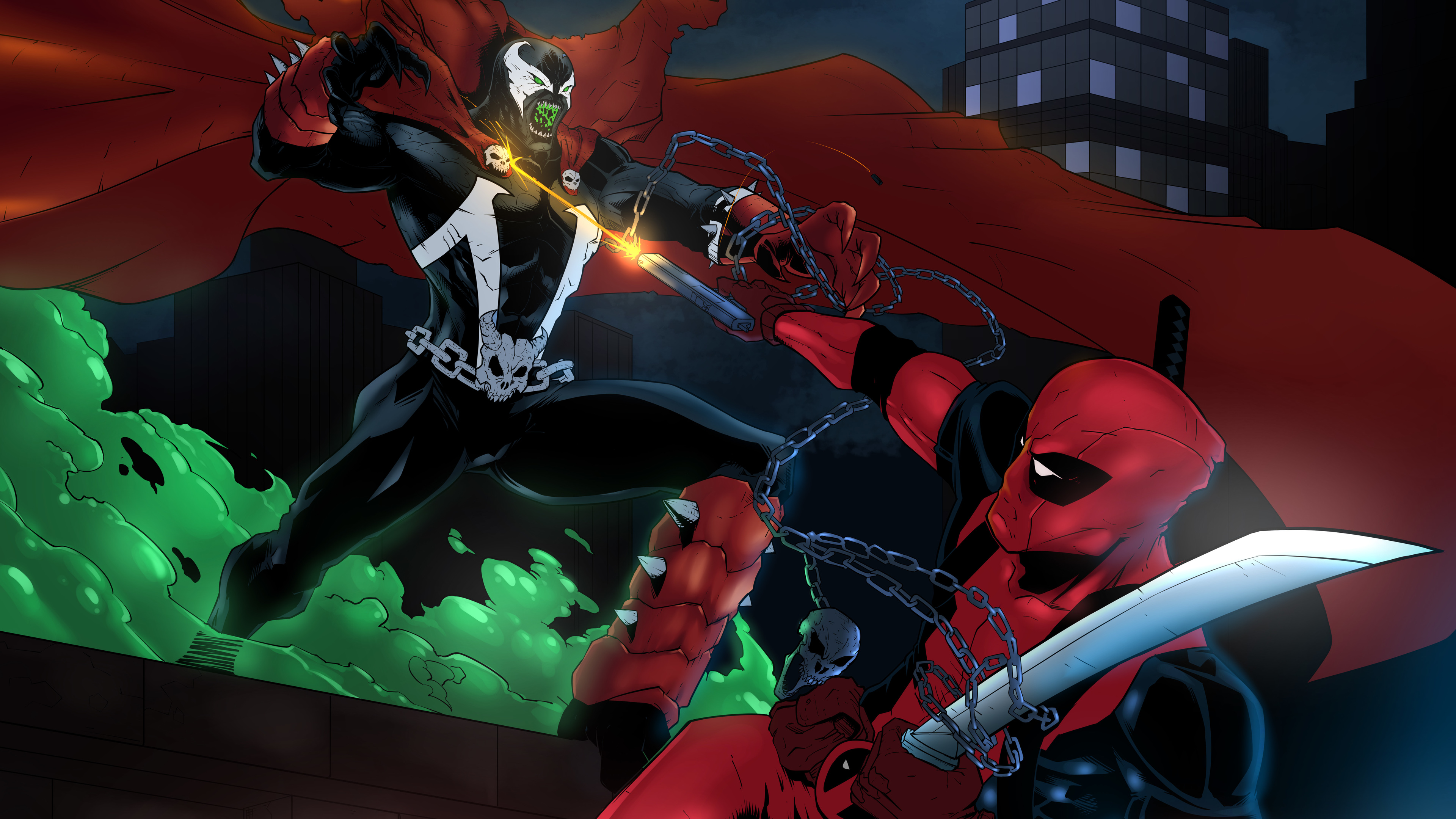 spawn vs deadpool 8k 1536524076 - Spawn Vs Deadpool 8k - superheroes wallpapers, spawn wallpapers, hd-wallpapers, digital art wallpapers, deviantart wallpapers, deadpool wallpapers, artwork wallpapers, 8k wallpapers, 5k wallpapers, 4k-wallpapers