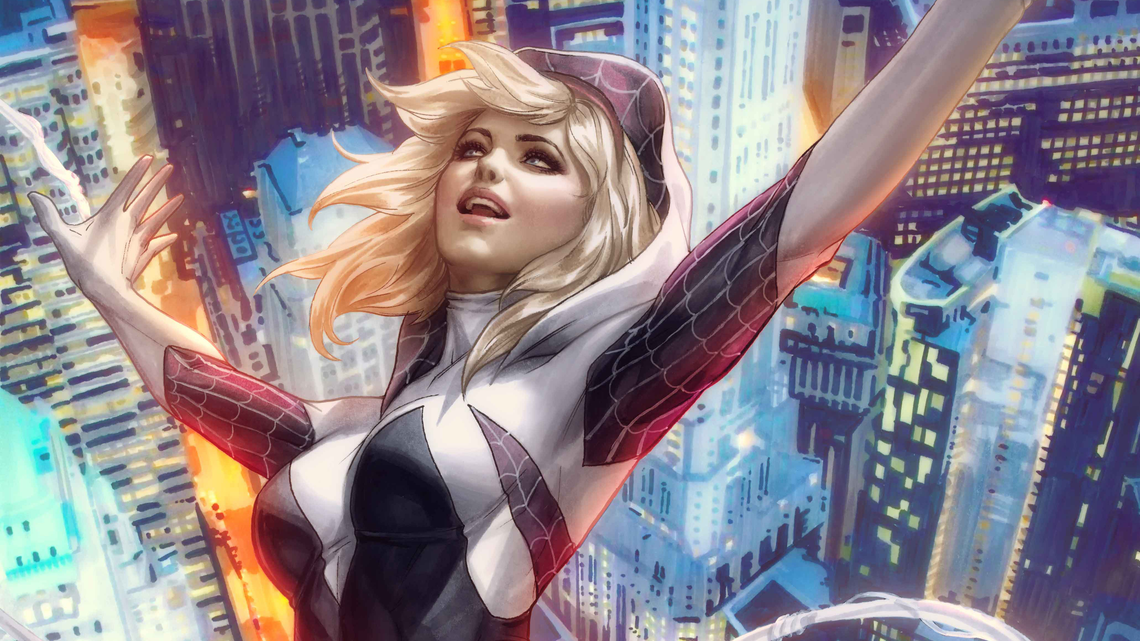 spider gwen art 4k 1537645942 - Spider Gwen Art 4k - superheroes wallpapers, hd-wallpapers, gwen wallpapers, gwen stacy wallpapers, digital art wallpapers, artwork wallpapers, artist wallpapers, 4k-wallpapers